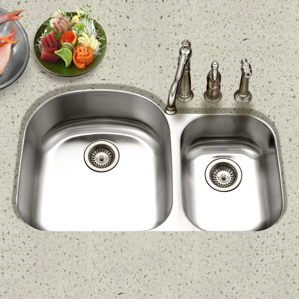 Houzer Eston X 20 5 Undermount 70 30 Double Bowl Kitchen Sink Reviews Wayfair