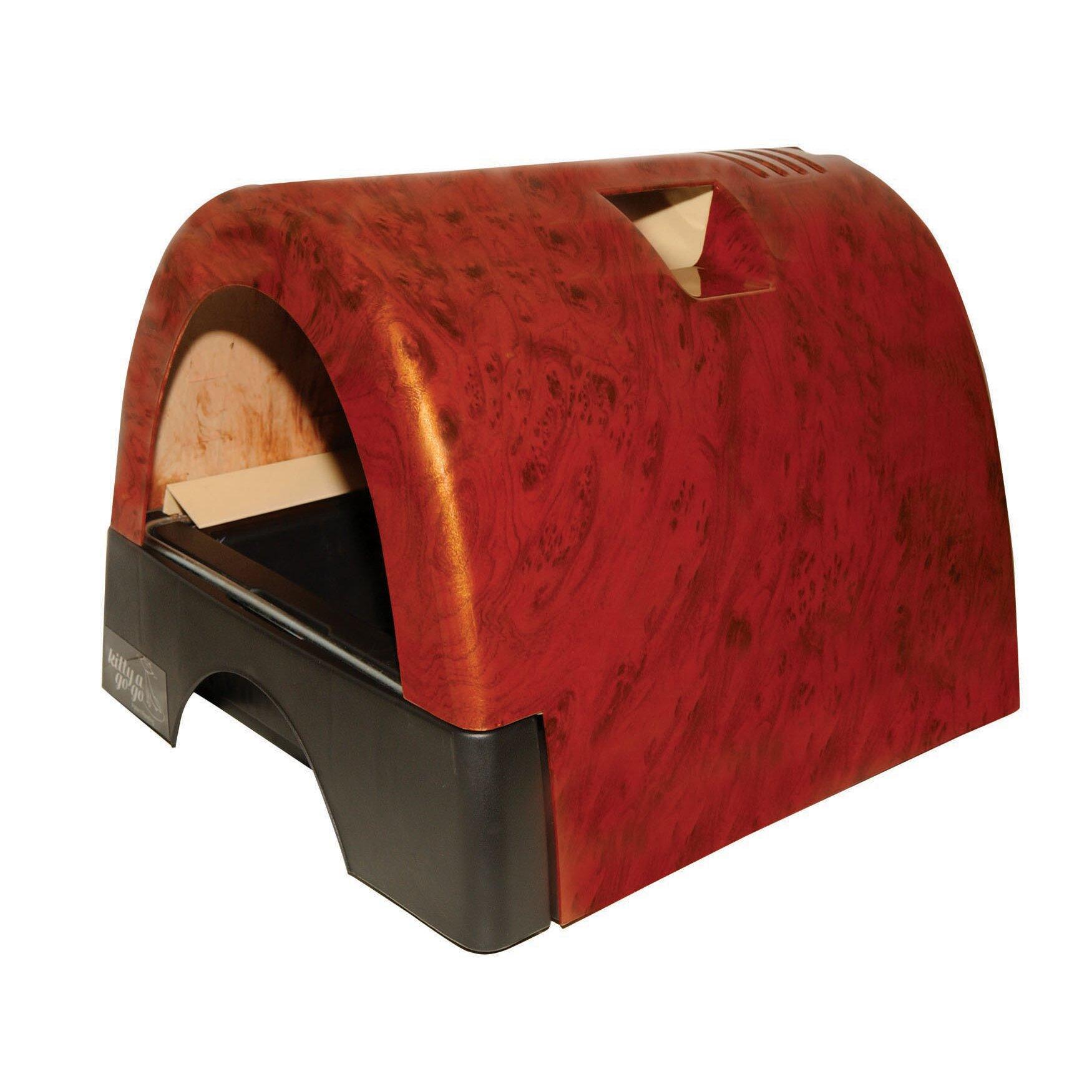 Kittyagogo Designer Cat Litter Box With Burl Wood Cover