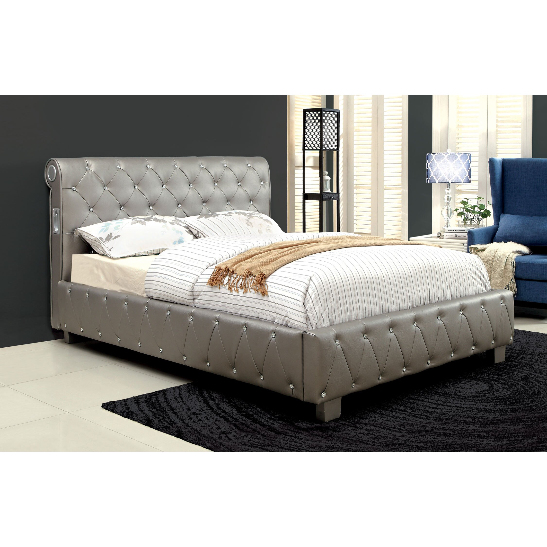 Hokku Designs Extravaganza Upholstered Sleigh Bed