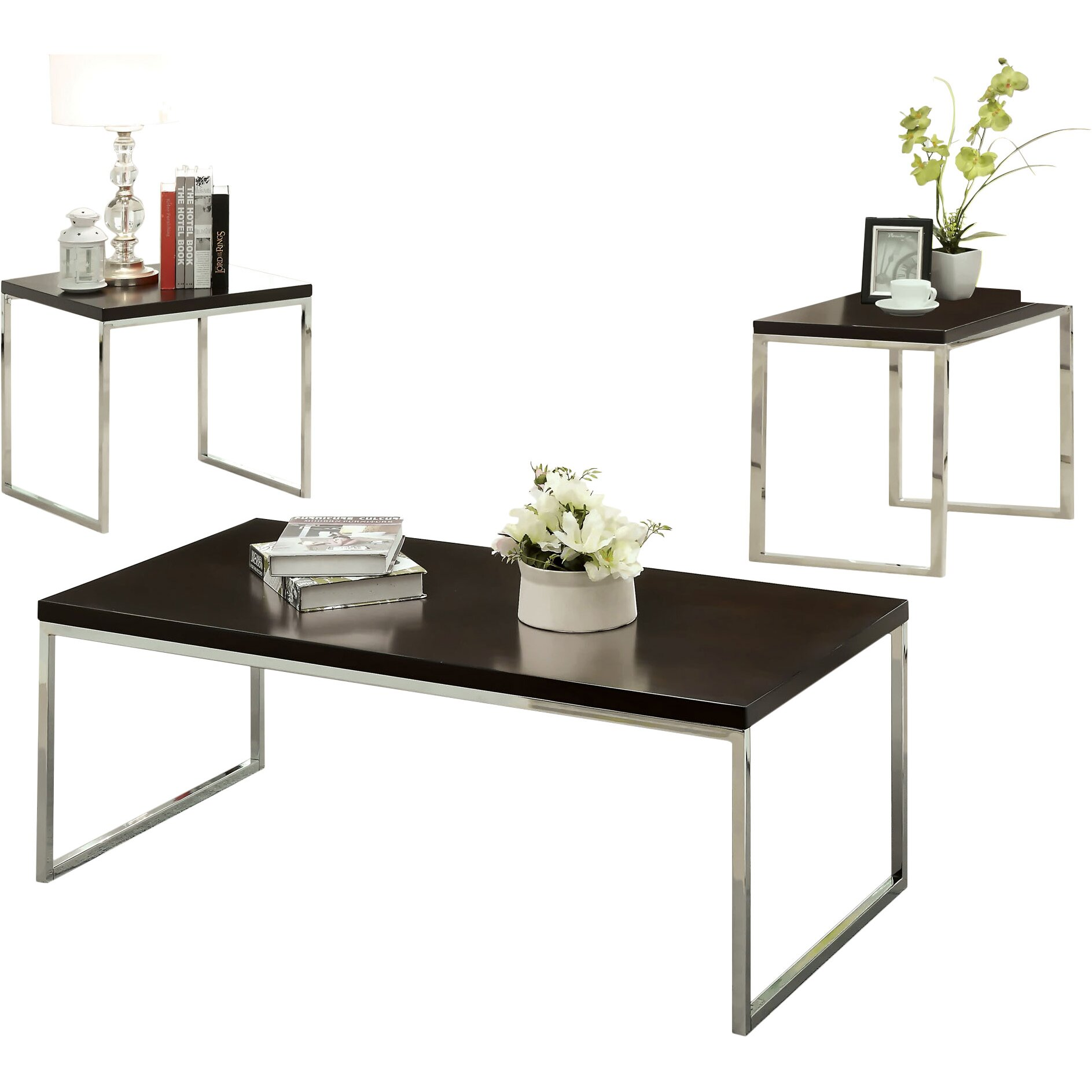 hokku designs howie retro 3 piece coffee table set reviews wayfair. Black Bedroom Furniture Sets. Home Design Ideas