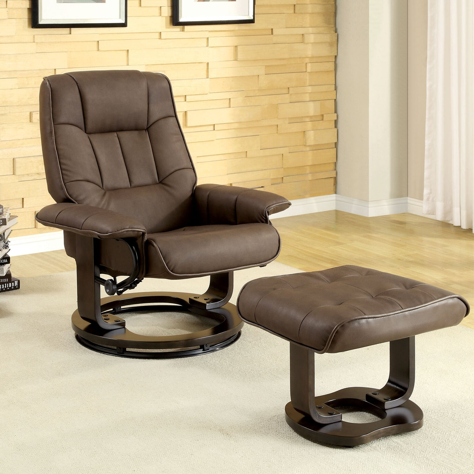 Small Chair With Ottoman: Hokku Designs Leatherette Swivel Recliner Chair And