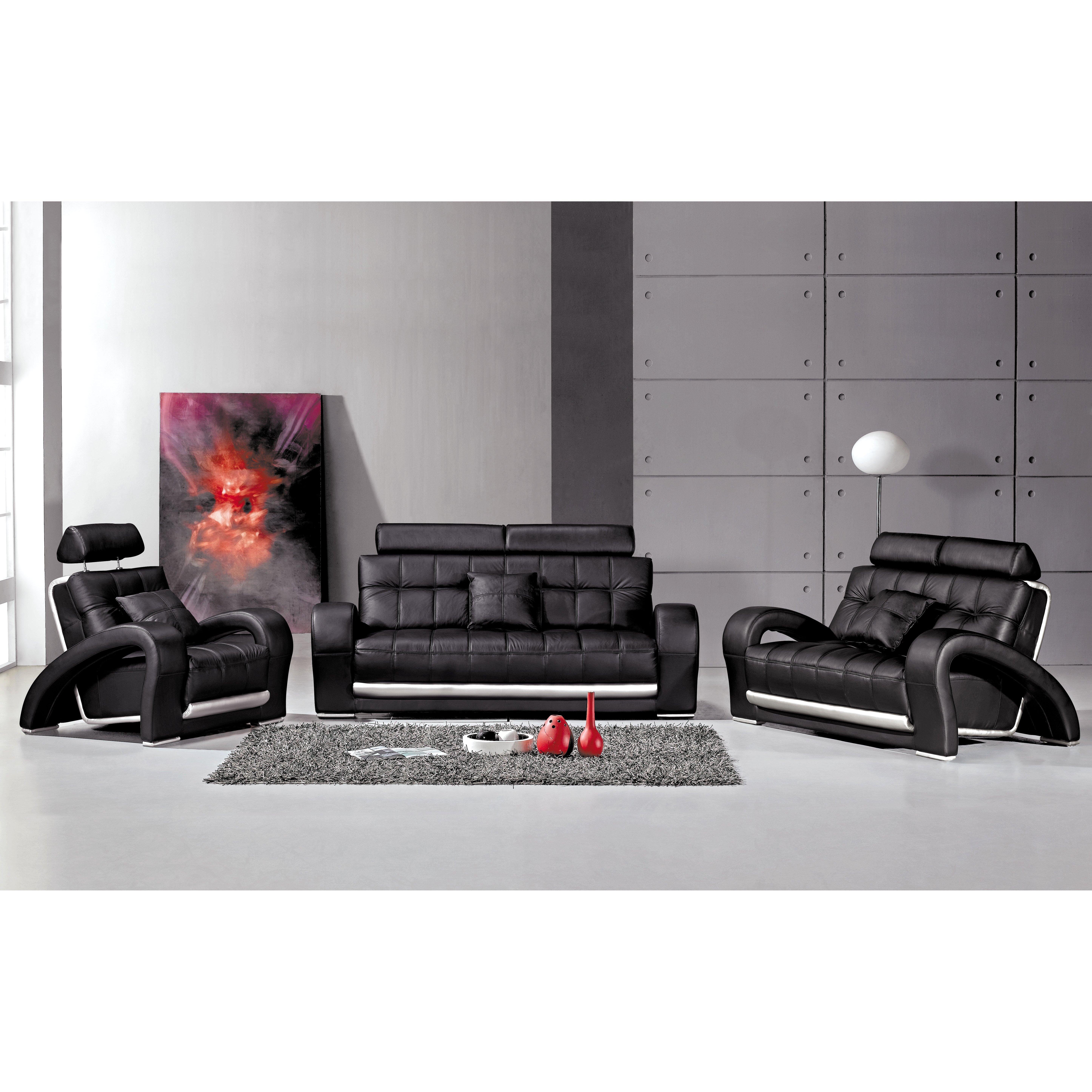 3 Piece Leather Sofa: Hokku Designs Arthur 3 Piece Leather Sofa Set & Reviews