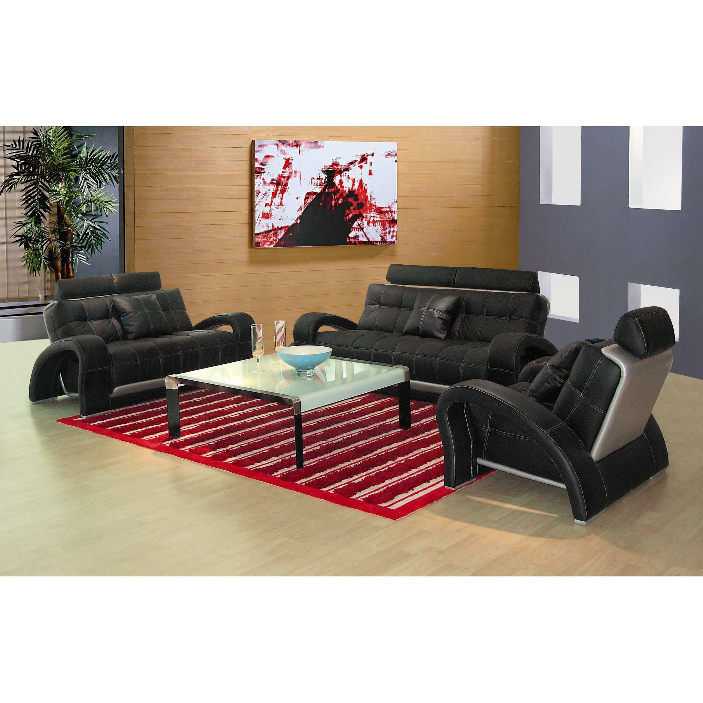Hokku designs arthur 3 piece leather sofa set reviews for 3 piece couch set