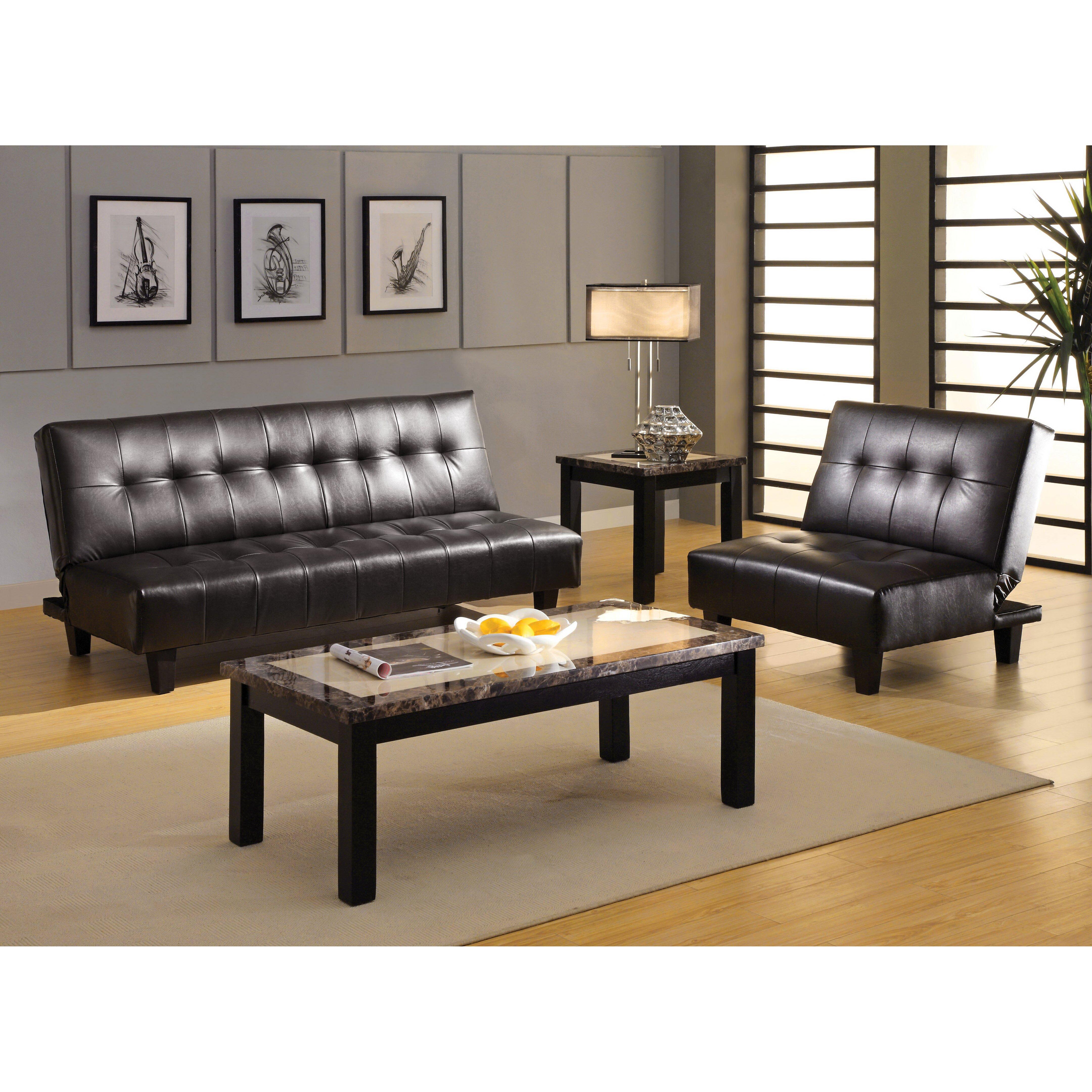 Hokku Designs Belmont Leatherette Convertible Sofa and