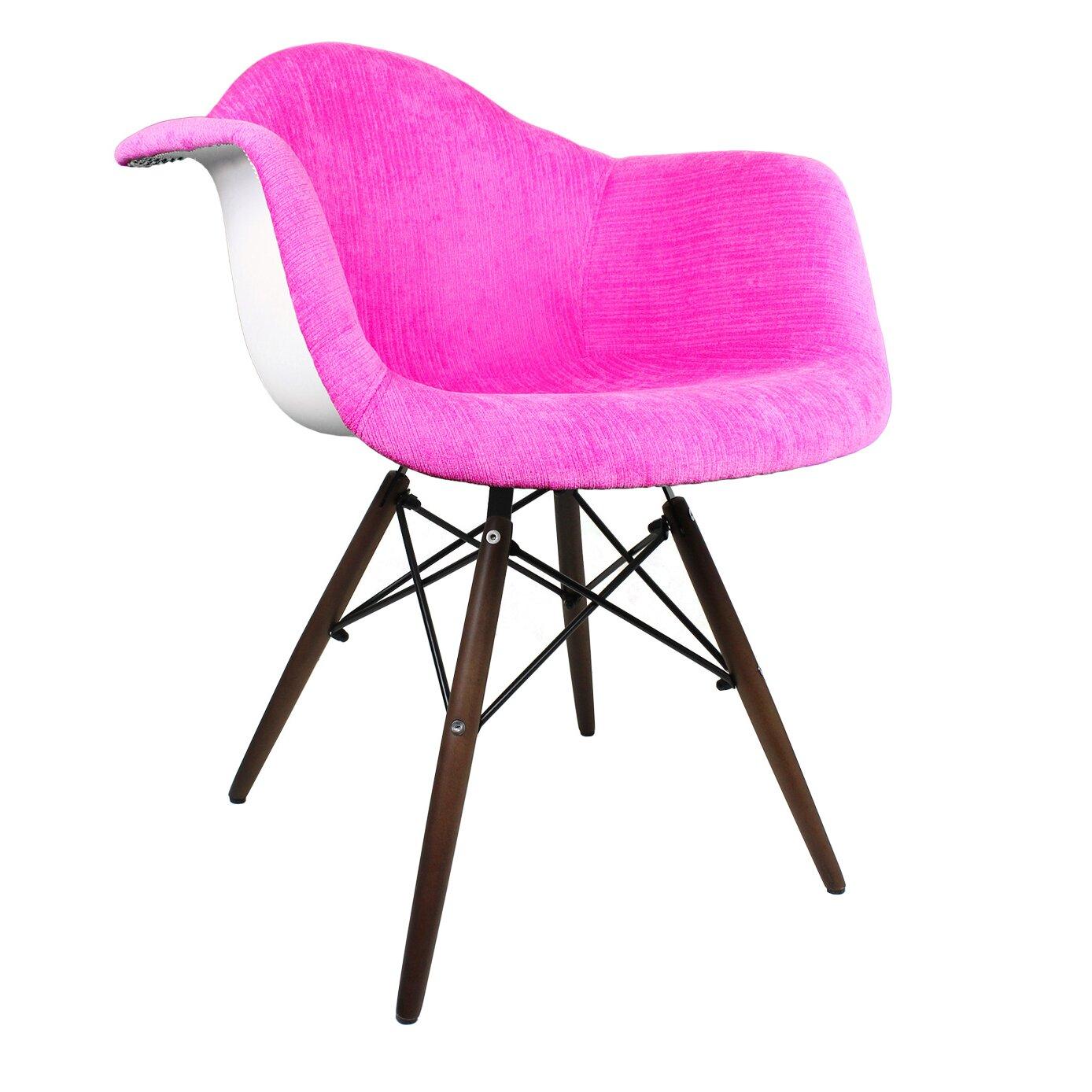 Emodern decor velvet fabric arm chair with wood legs for Emodern decor