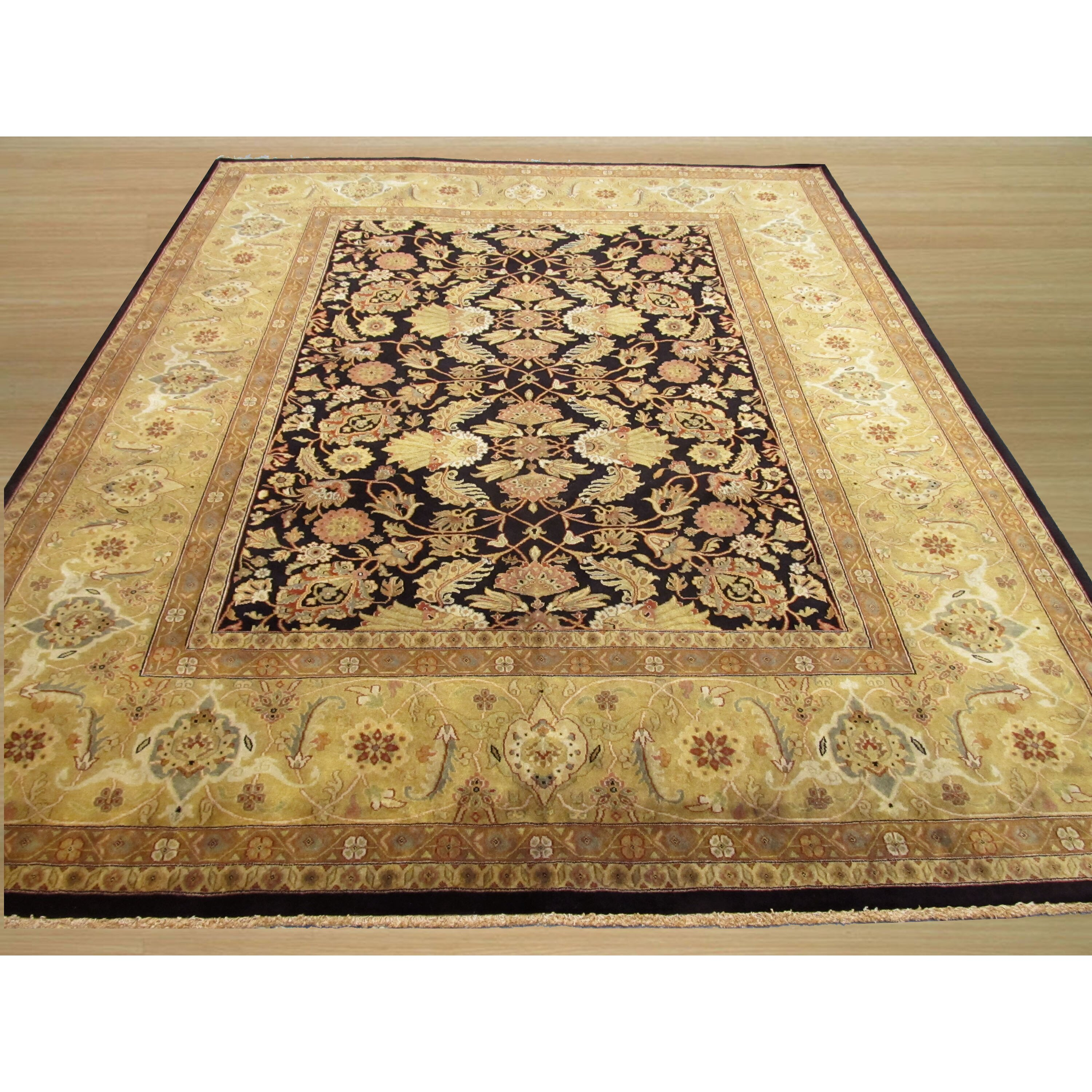Eastern Rugs Tabriz New Zealand Hand-Knotted Black/Ivory