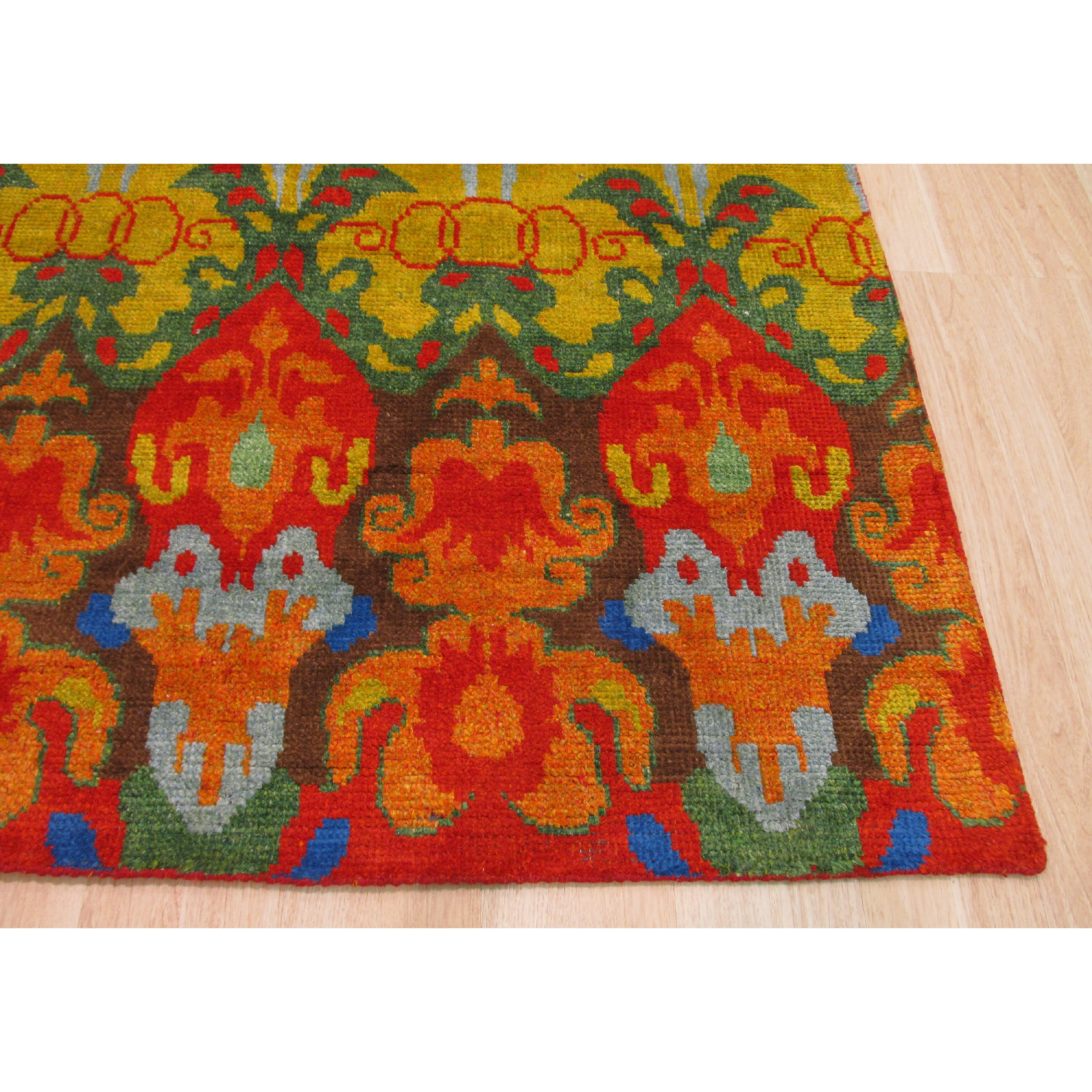 Eastern Rugs Hand-Knotted Orange/Green Area Rug