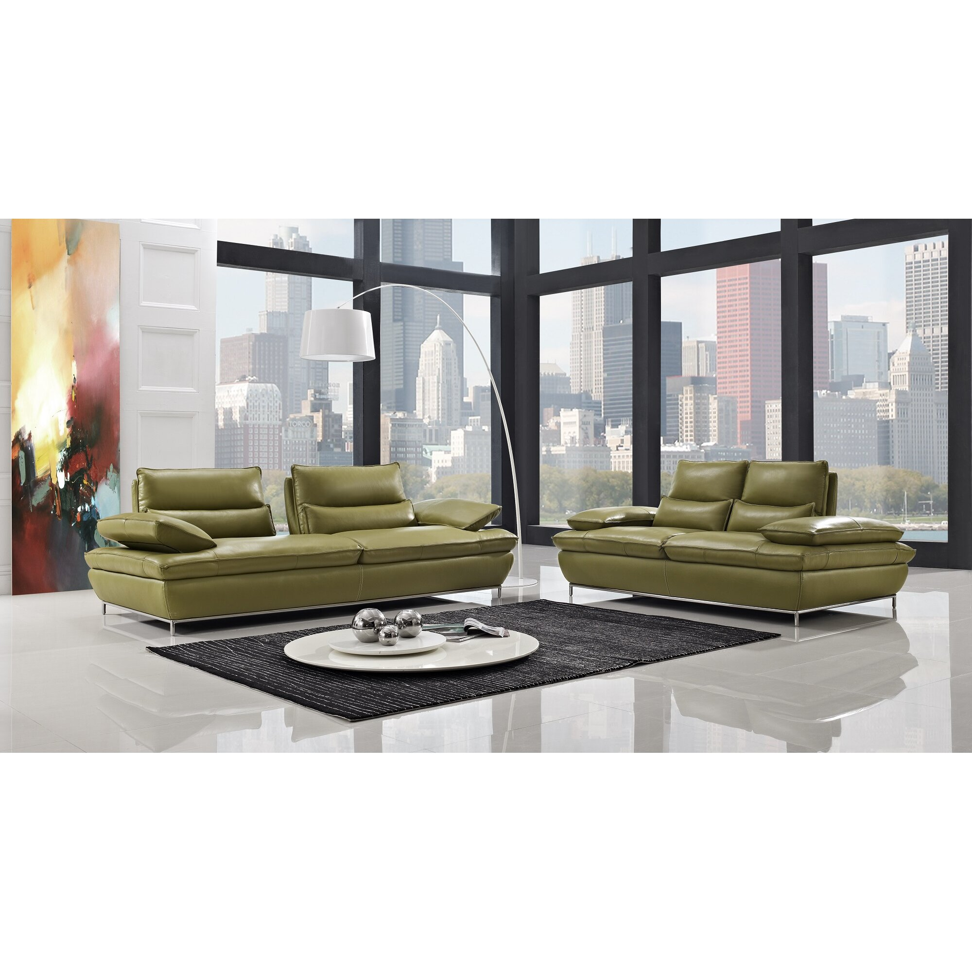 Creative furniture naomi leather loveseat wayfair for Naomi in the living room script