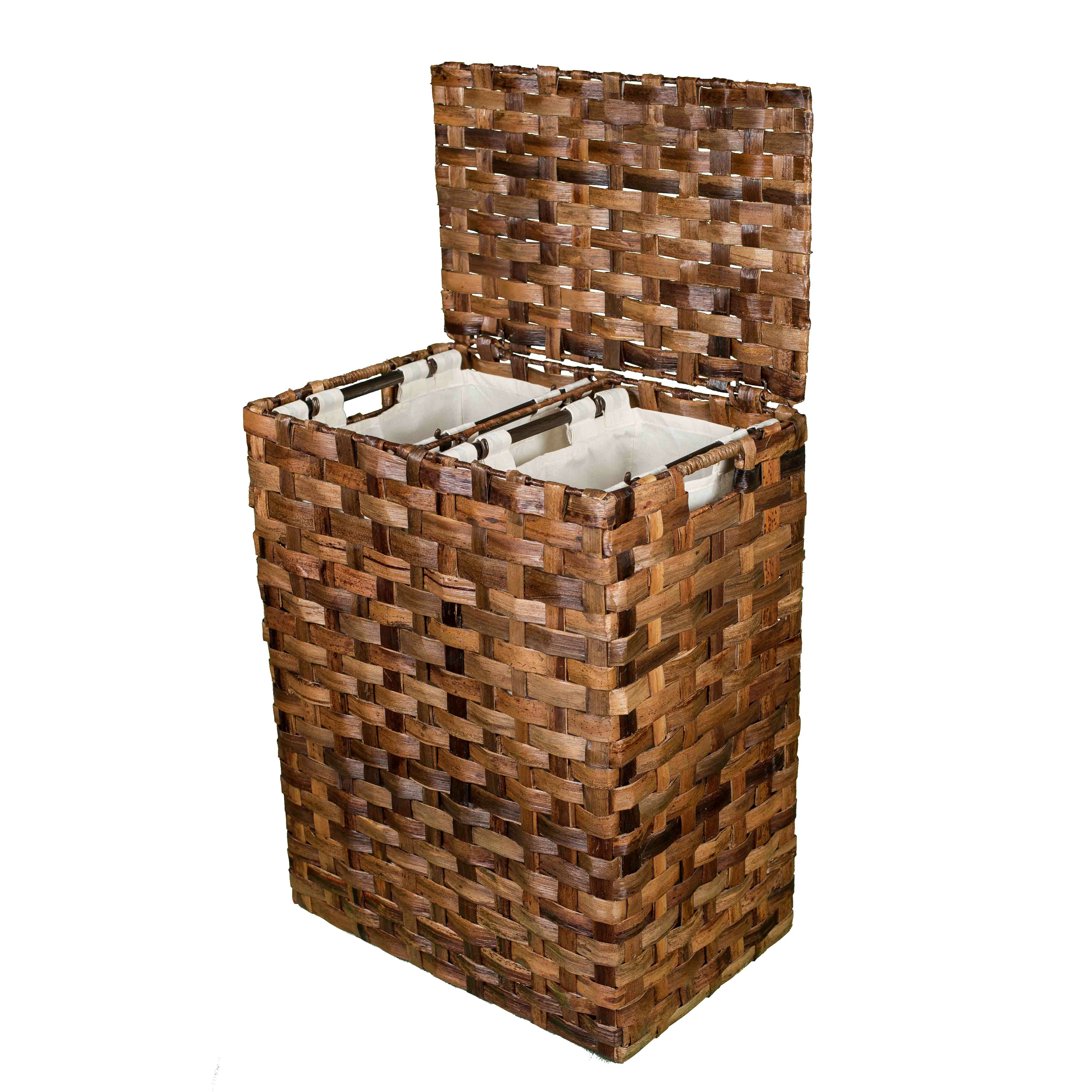 Birdrock home abaca divided flat weave laundry hamper reviews wayfair - Divided clothes hamper ...