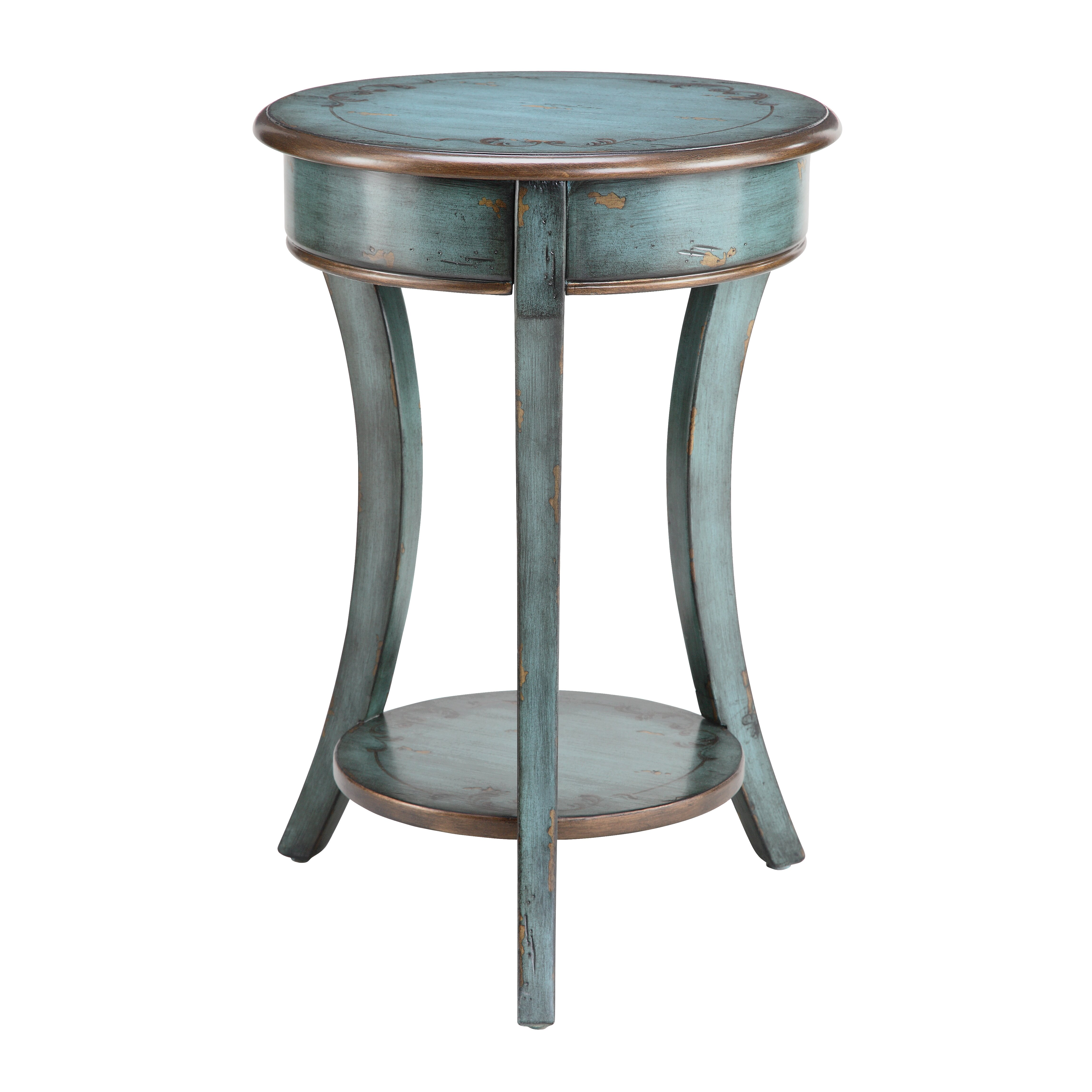 Stein world painted treasures curved legs round accent for Round side table