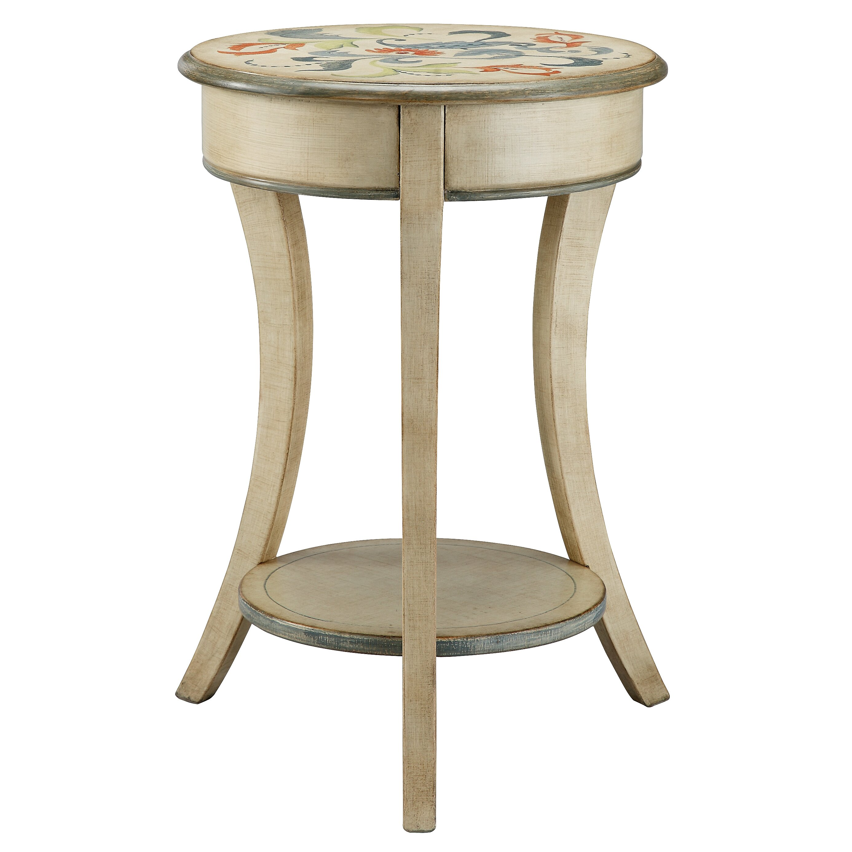 Stein world painted treasures curved legs round accent for Accent end tables