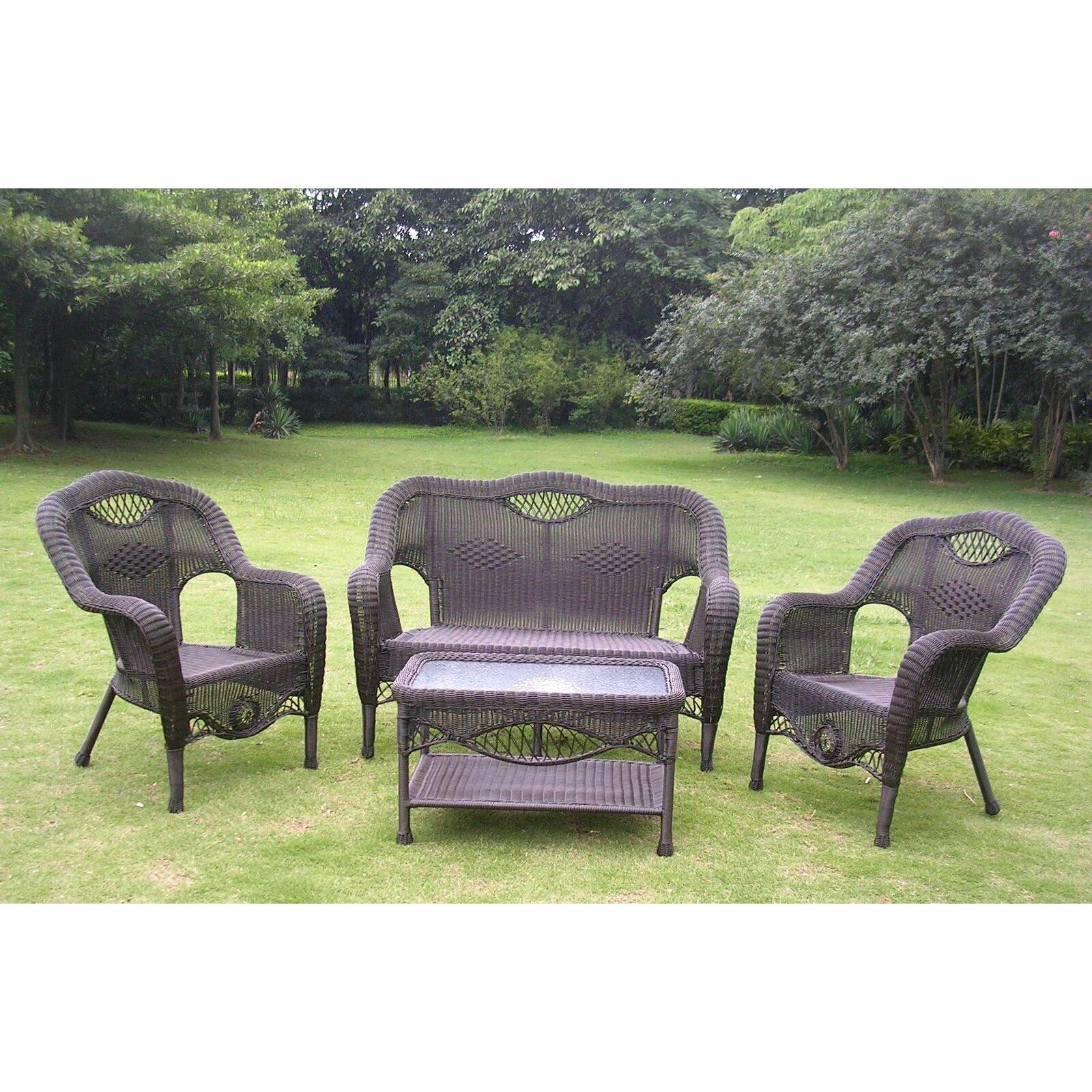 International caravan maui wicker resin aluminum 4 piece lounge seating group amp reviews wayfair