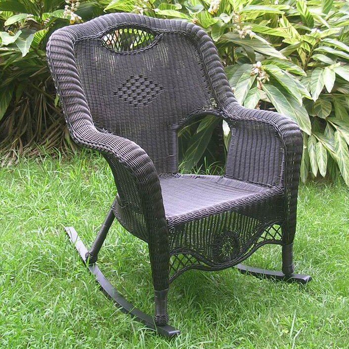 ... Wicker Resin Aluminum Large Patio Rocking Chair & Reviews  Wayfair