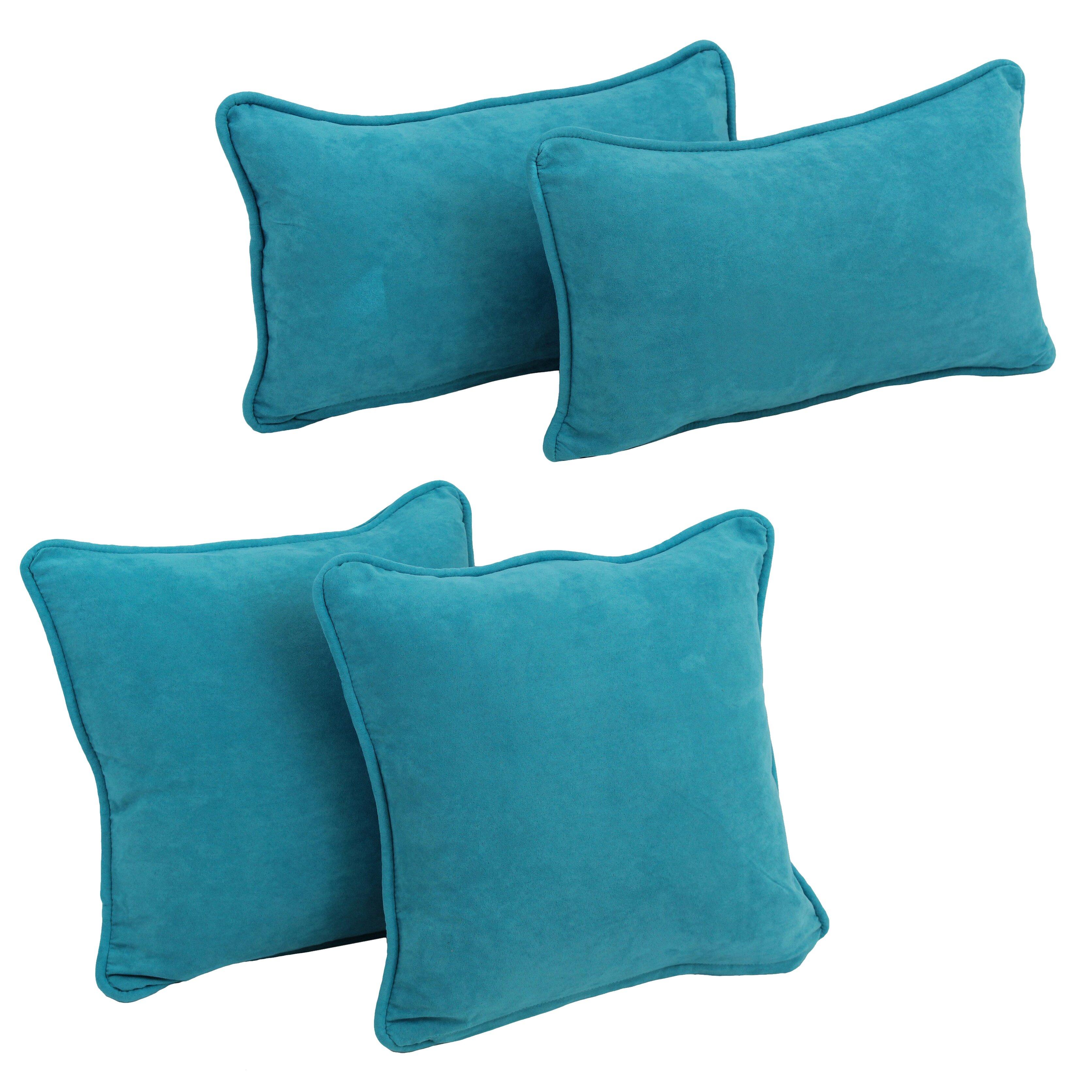 Blazing Needles 4 Piece Microsuede Pillow Set Wayfair