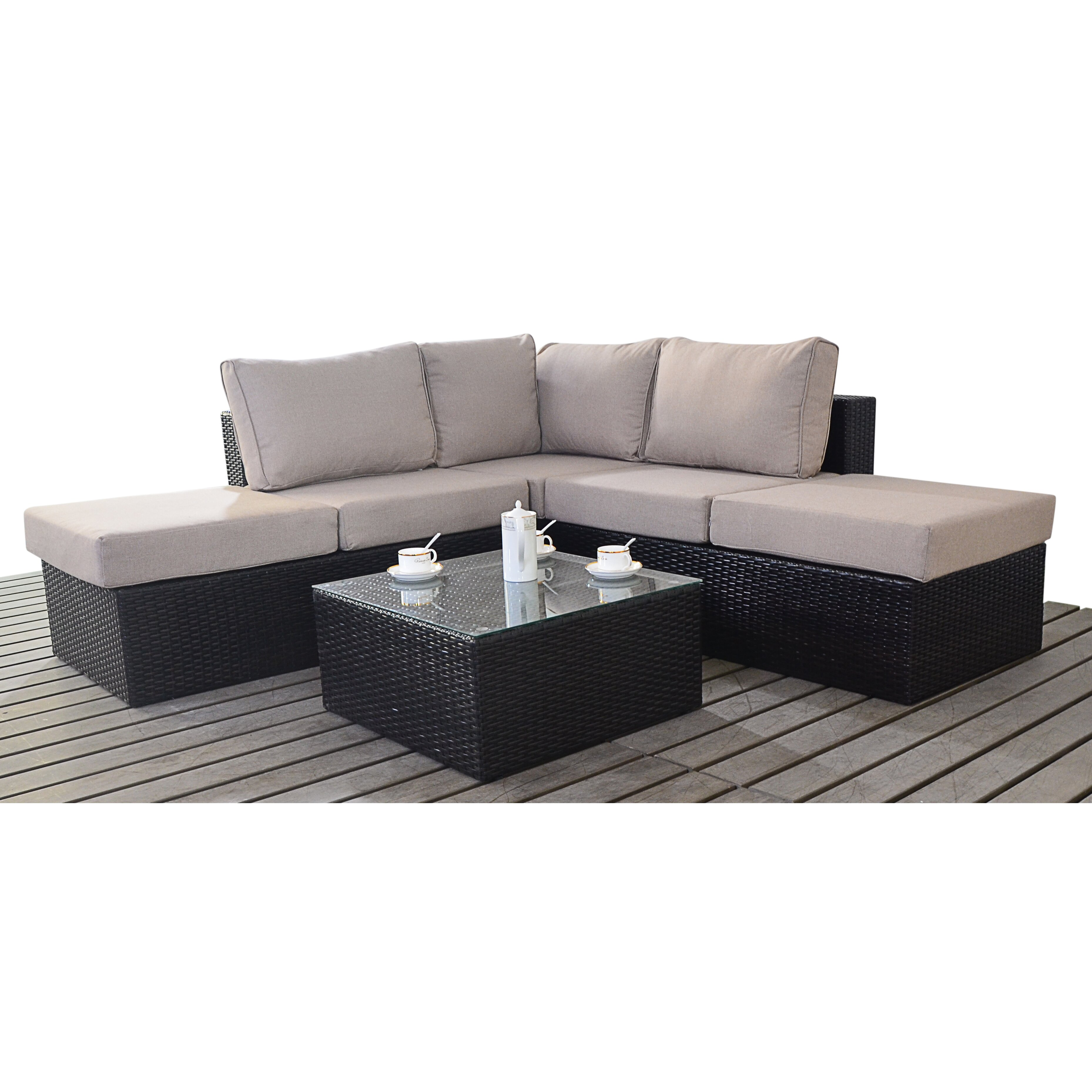 Port royal luxe 4 seater sectional sofa set with cushions for Sectional sofa set