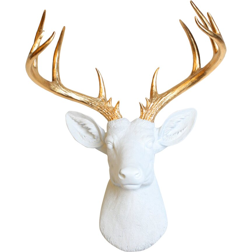 Wall Decoration Deer Head : White faux taxidermy the xl deer head wall decor reviews