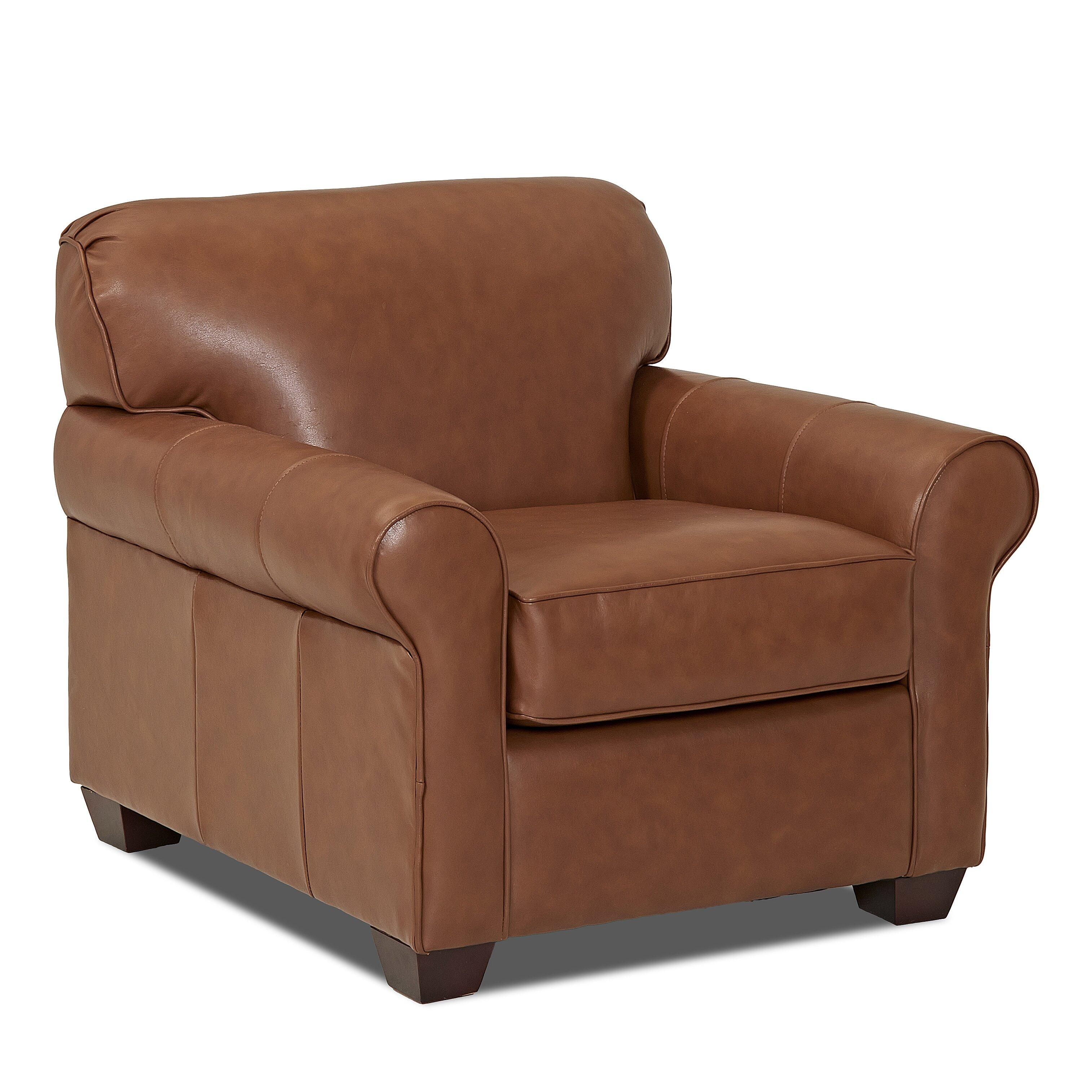 Wayfair Custom Upholstery Jennifer Leather Arm Chair ...