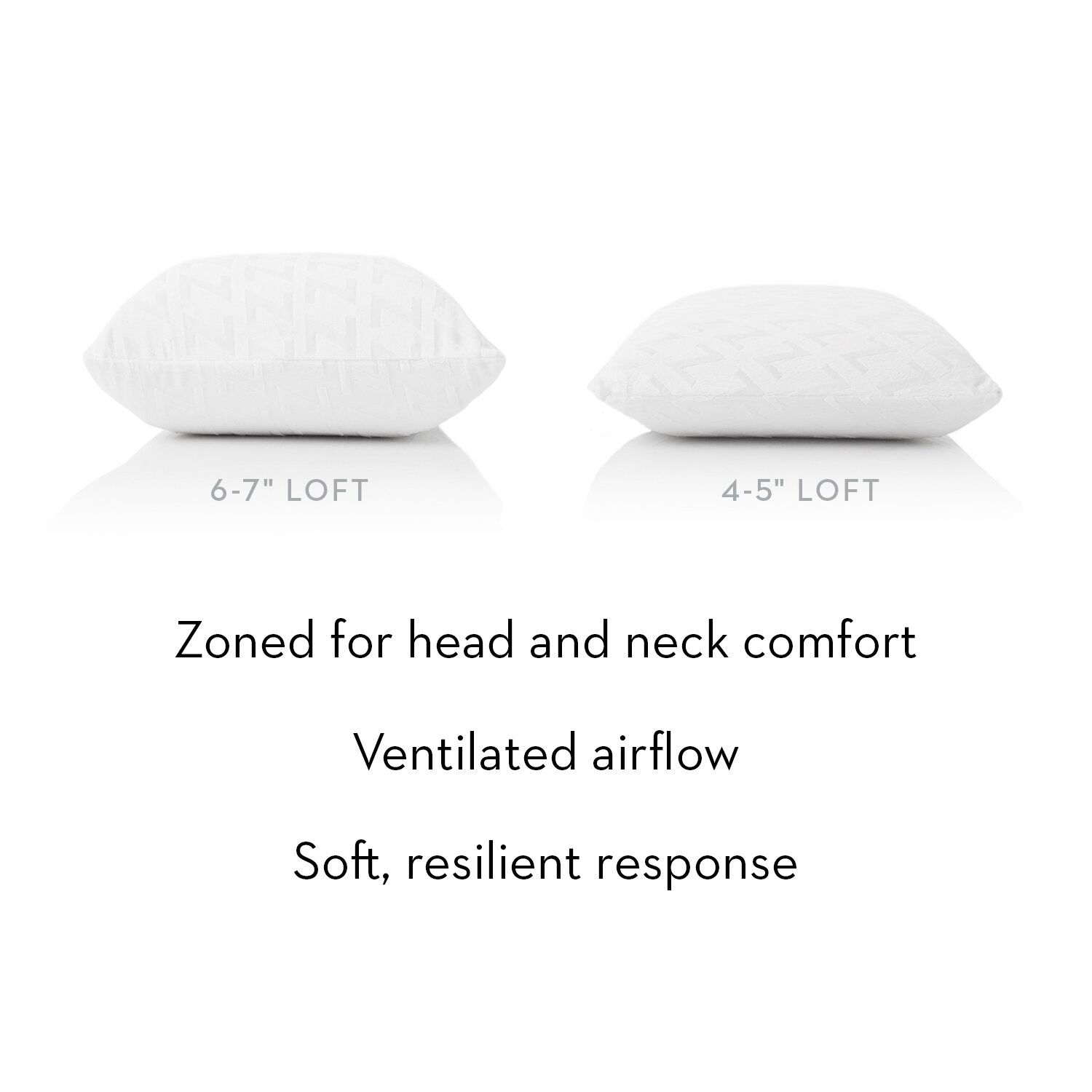 Malouf Zoned Talalay Latex Low Loft Plush Pillow By Z