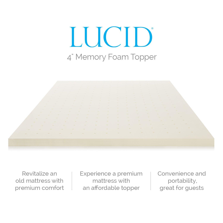 Lucid 4 Memory Foam Mattress Topper Reviews Wayfair