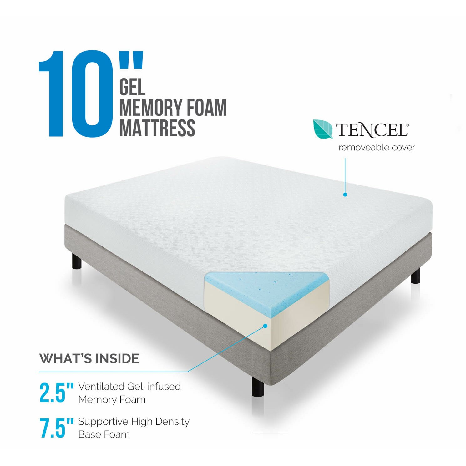 Lucid 10 memory foam mattress reviews wayfair Memory foam mattress king size sale