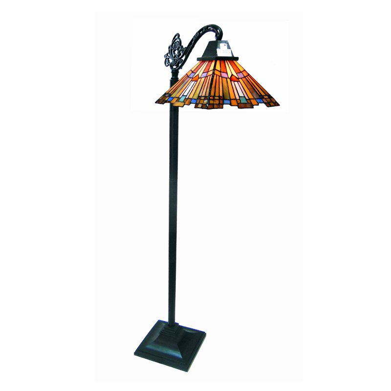 River of goods pharaoh39s jeweled mission style stained for Tiffany style floor lamp with side light