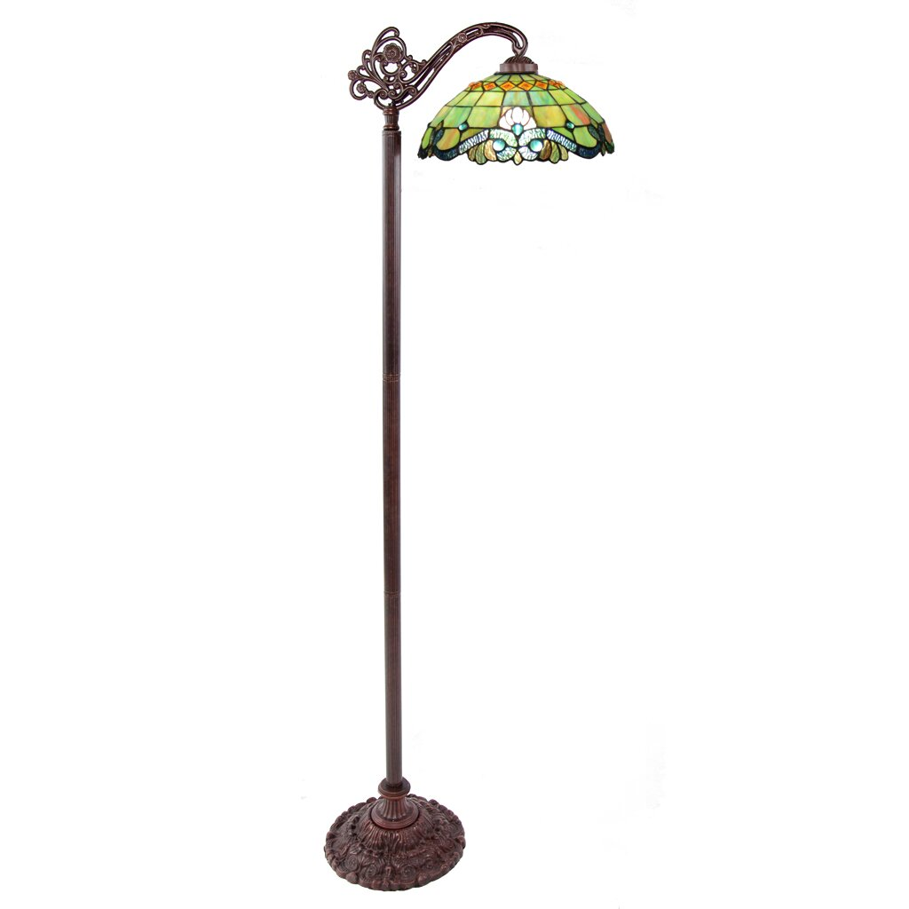 River of goods vivaldi tiffany style stained glass 605quot h for Tiffany bamboo floor lamp