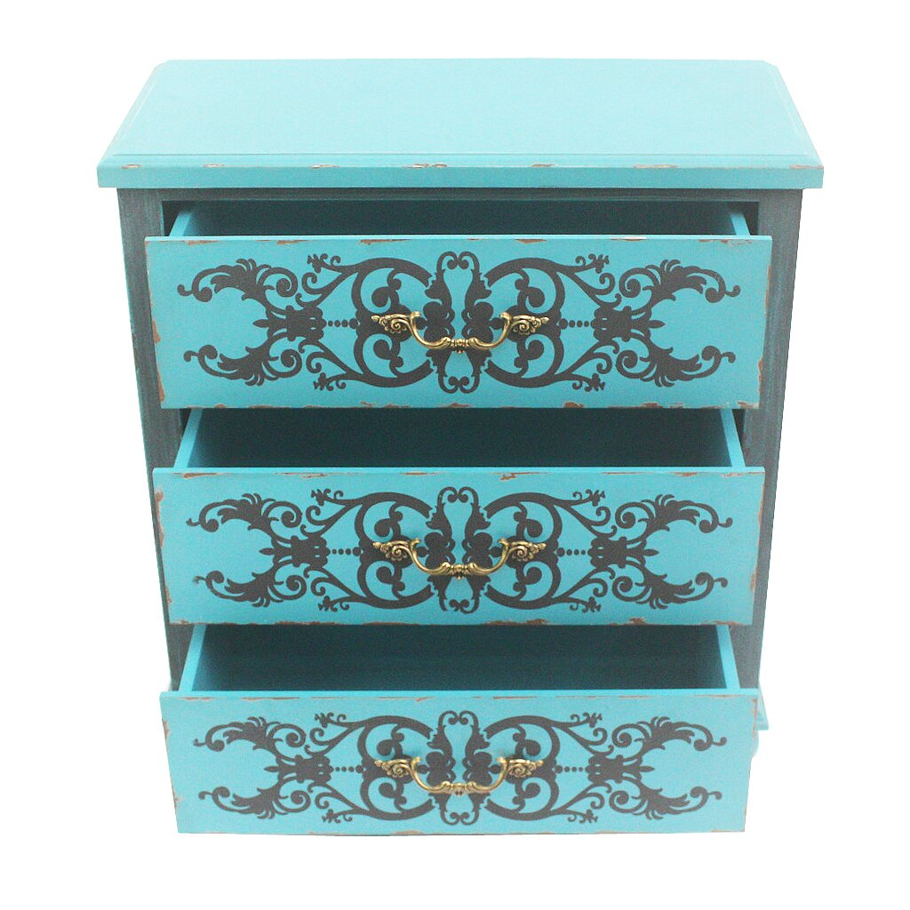 River Of Goods Painted Peacock Blue 3 Drawer Cabinet Wayfair