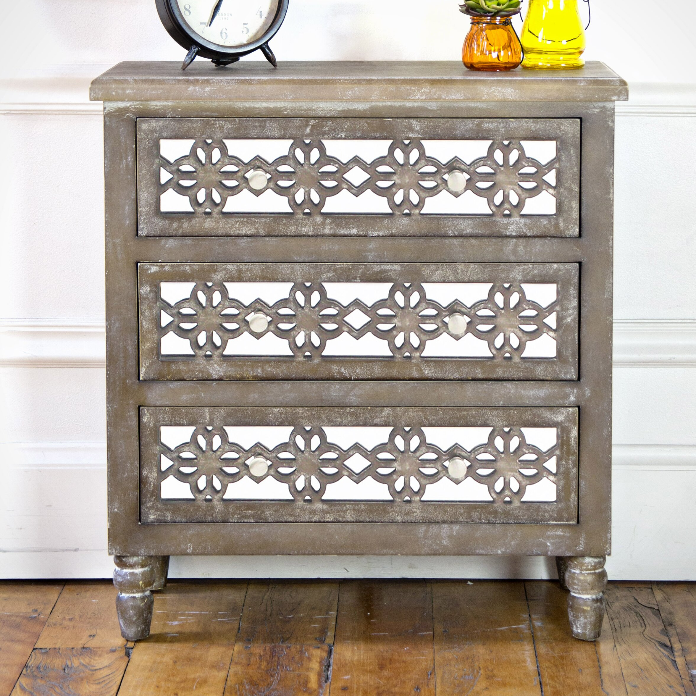 River Of Goods Wooden 3 Drawer Mirrored Cabinet Wayfair