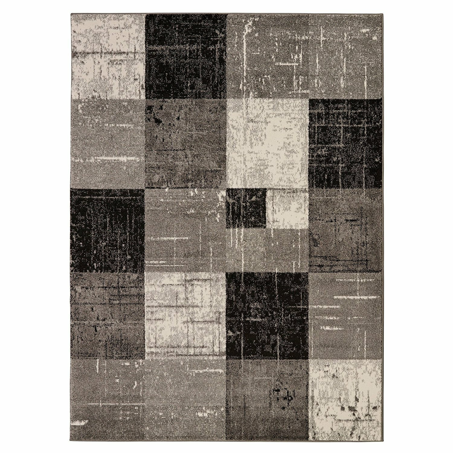Checked Black Grey Rug: Casamode Functional Furniture City Geometric/Square Tiles