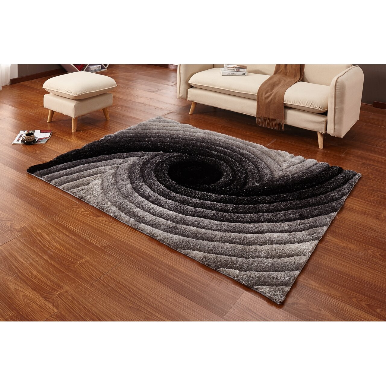Rugs Furniture: Casamode Functional Furniture Regina Gray/Black Area Rug
