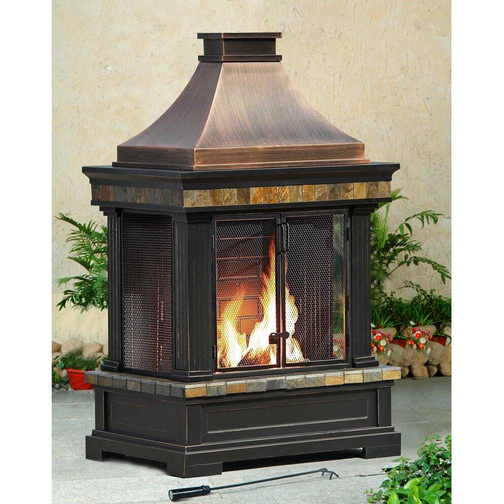Sunjoy Brownston Steel Wood Outdoor Fireplace & Reviews ... on Backyard Chimney Fireplace id=45544