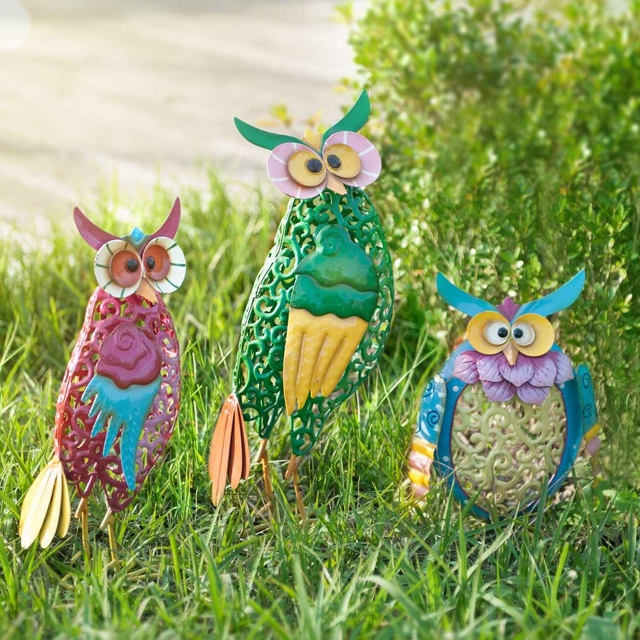 Sunjoy whimsical 3 piece owl garden statue set reviews for Whimsical garden statues