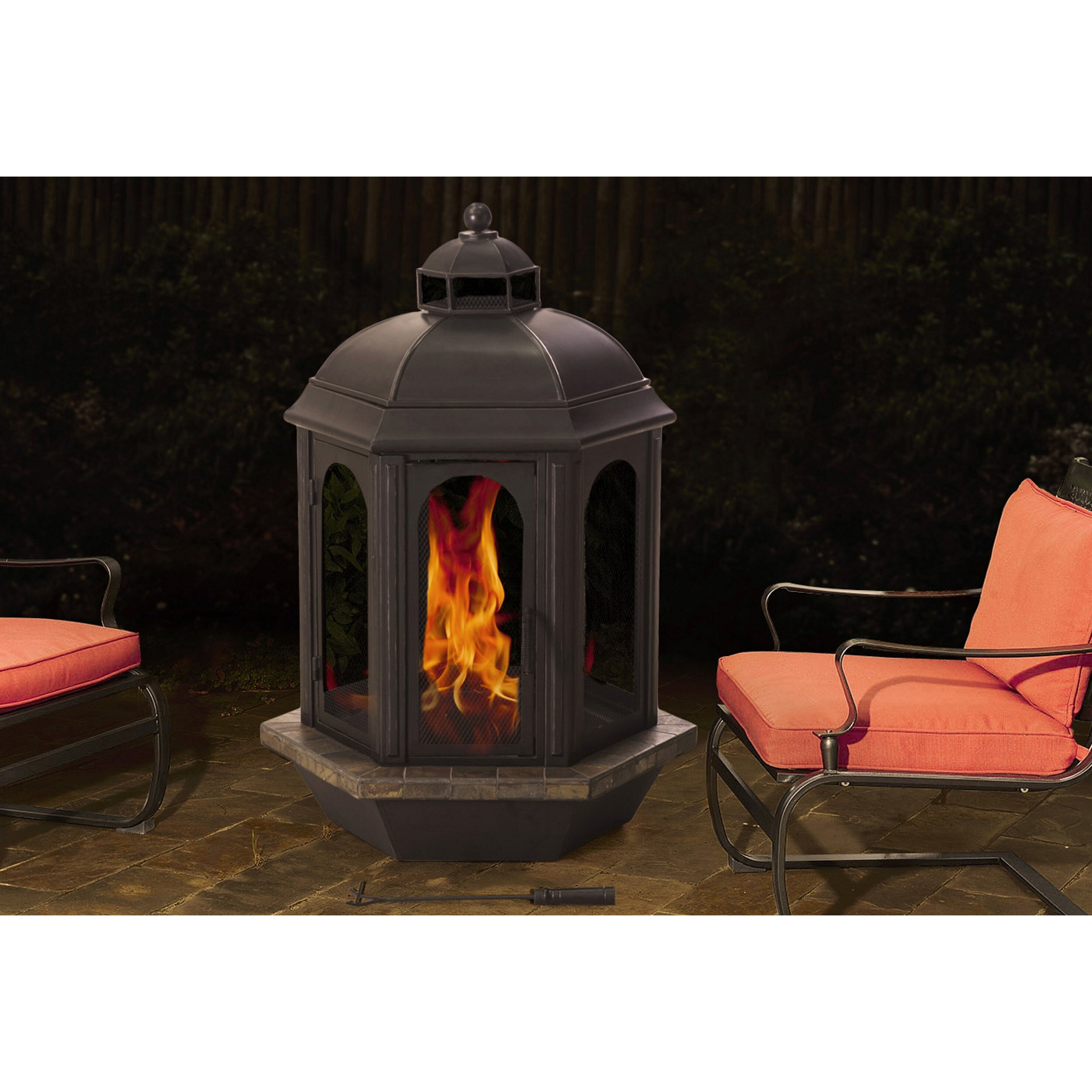 Perfect #C28209 Sunjoy Ava Hexagon Slate Ember Wood Outdoor Fireplace Brand New  5631 Sunjoy Patio Heater