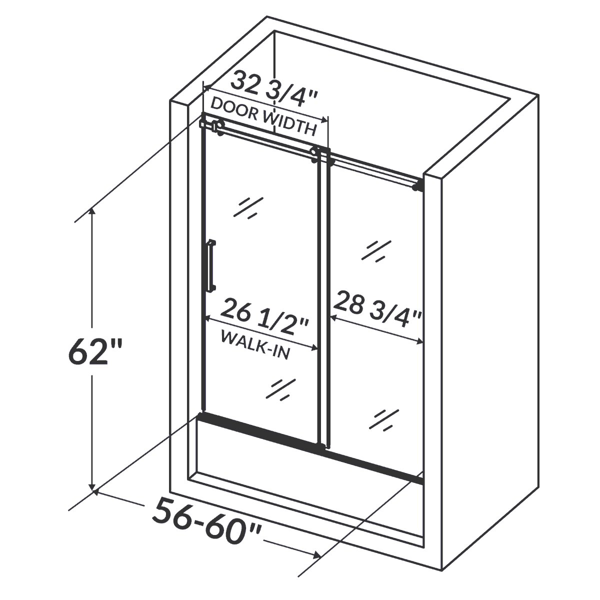 Lesscare clear glass shower door ultra b 44 48 wide x 76 high chrome - 12004759194955841200 Ultra B 62 X 60 Sliding Glass Bath Tub Door Reviews W 636269