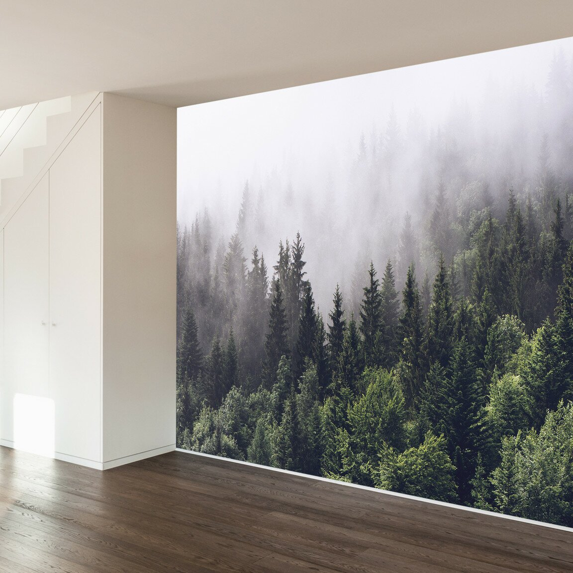 Walls need love misty forest wall mural reviews wayfair for Wallpapered walls