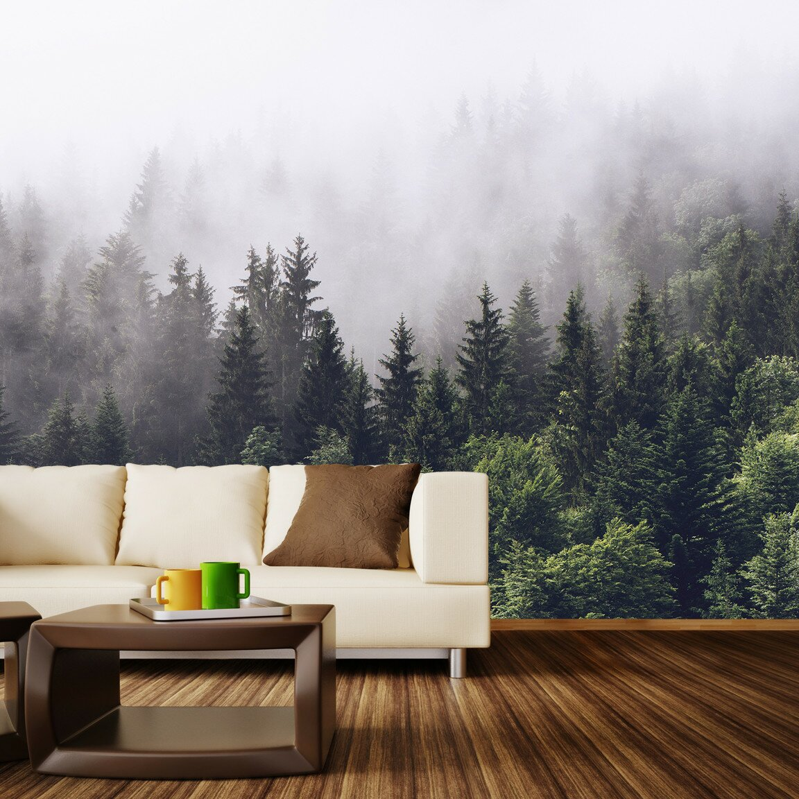 Walls need love misty forest wall mural reviews wayfair for Mural wallpaper