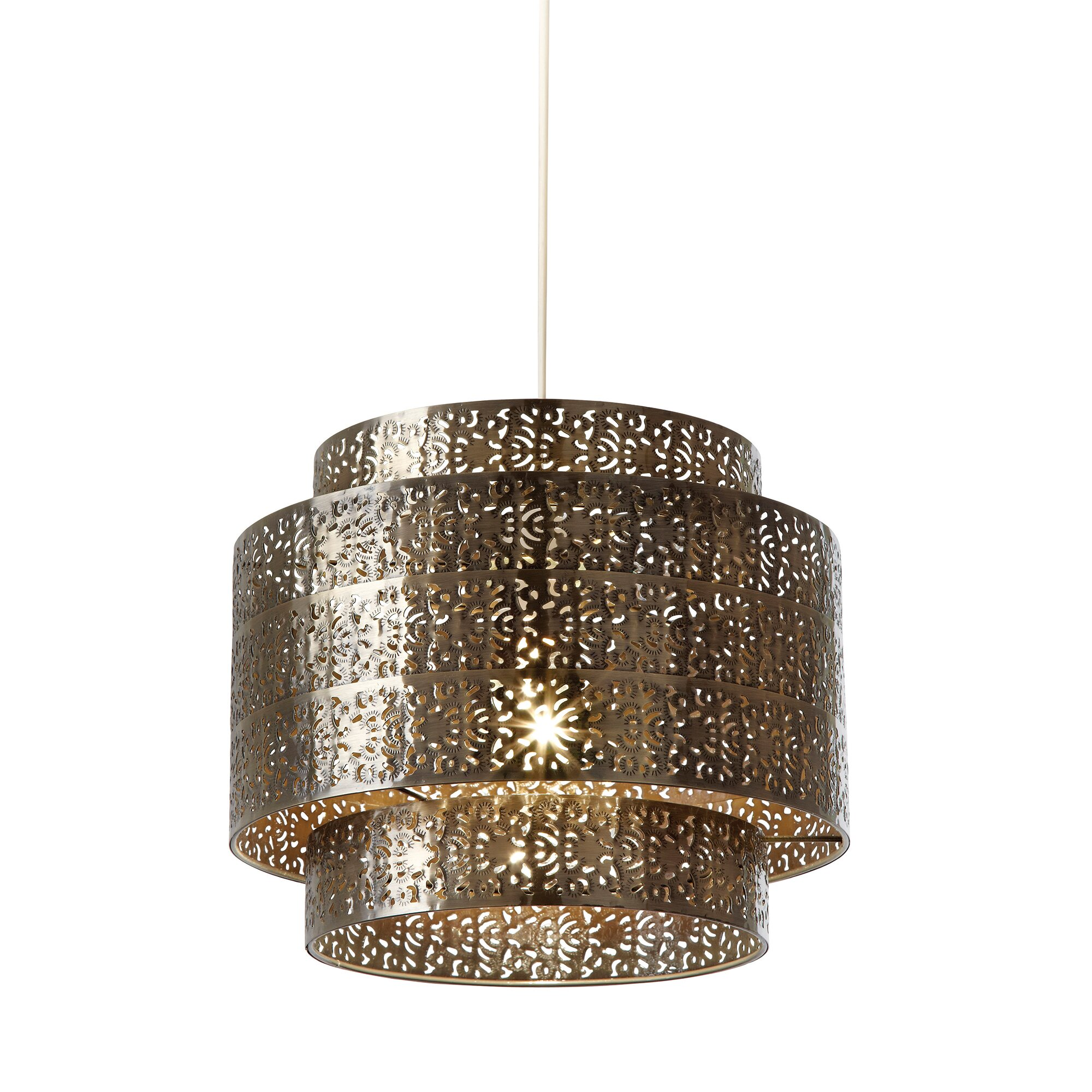 Endon Lighting 28cm Bramham Metal Drum Pendant Shade