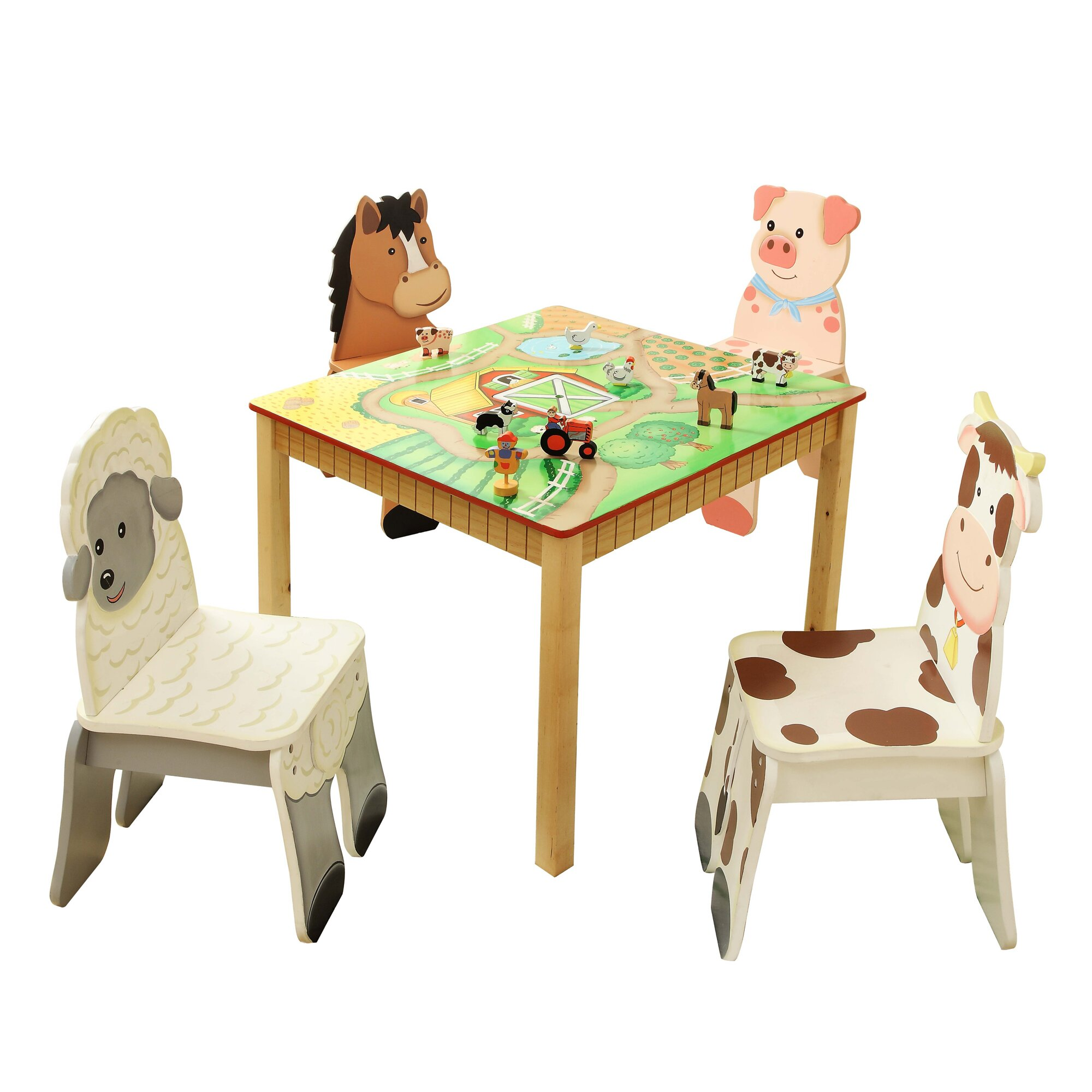 Fantasy fields happy farm kids 5 piece table and chair set for Table and chair set