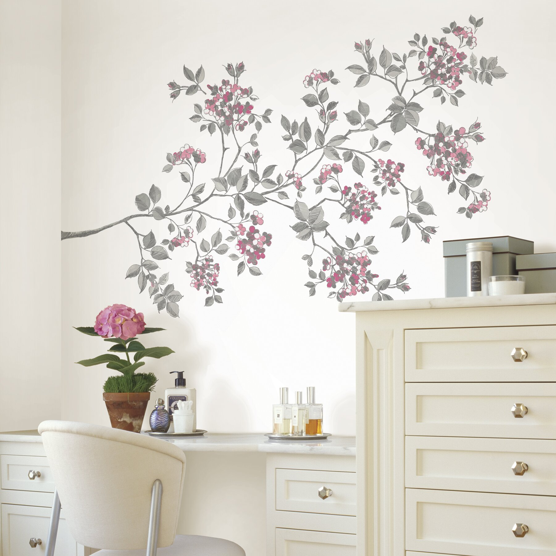 Wall Art Decals For Living Room: Zipcode™ Design Marcia Cherry Blossom Large Wall Decal Kit