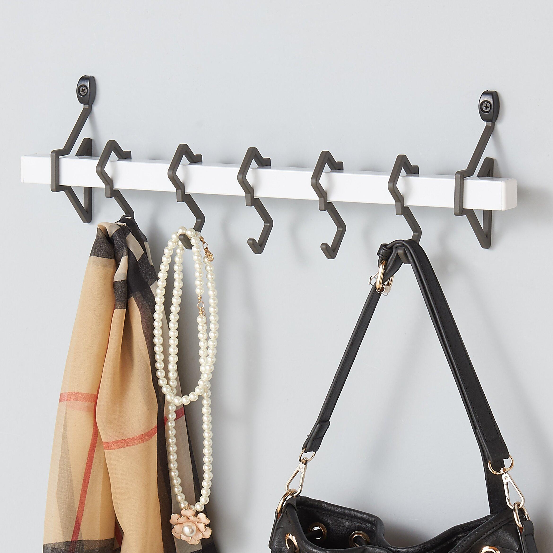 zipcode design metal wall mount coat rack with hanging hook reviews wayfair. Black Bedroom Furniture Sets. Home Design Ideas