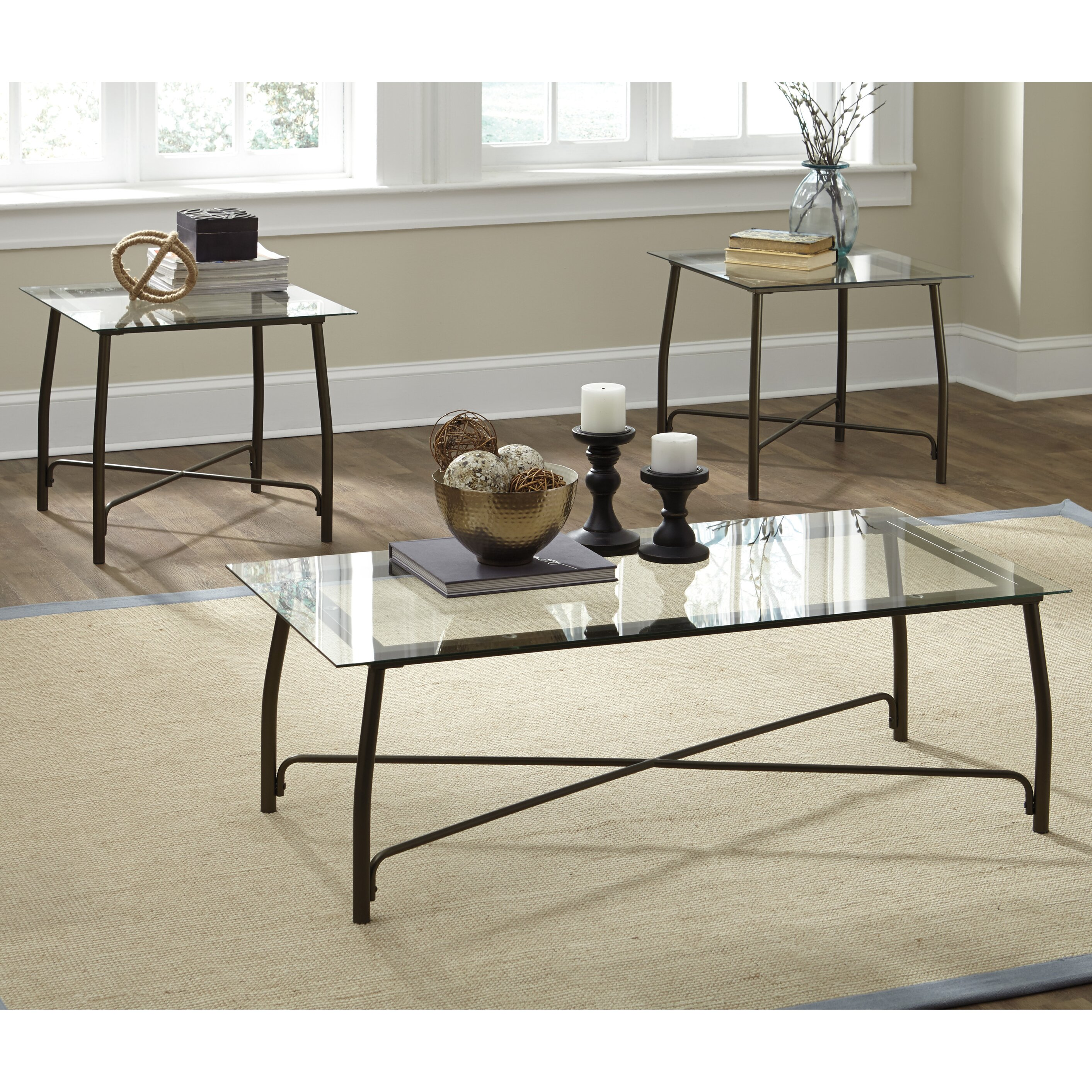 Zipcode design ismael 3 piece coffee table set wayfair for Three piece living room table set