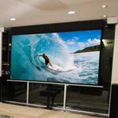 Elite screens evanesce tab tension series cinewhite 60 h for Tab tensioned motorized projection screen