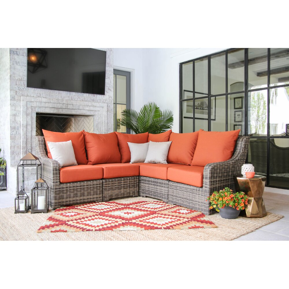 Ae Outdoor Cherry Hill Sectional Sofa With Cushions Wayfair