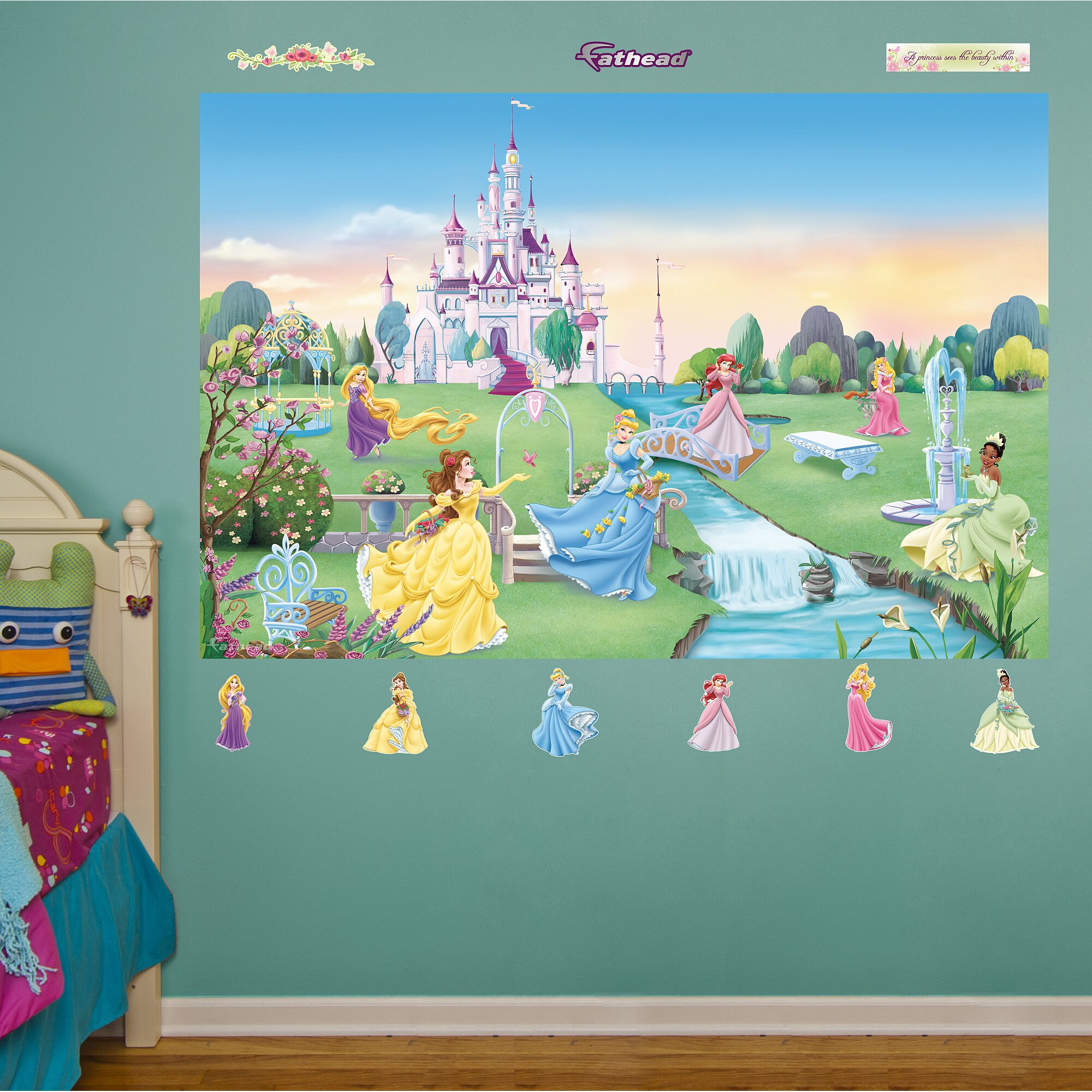 Fathead disney princess wall mural reviews wayfair for Disney princess mini mural
