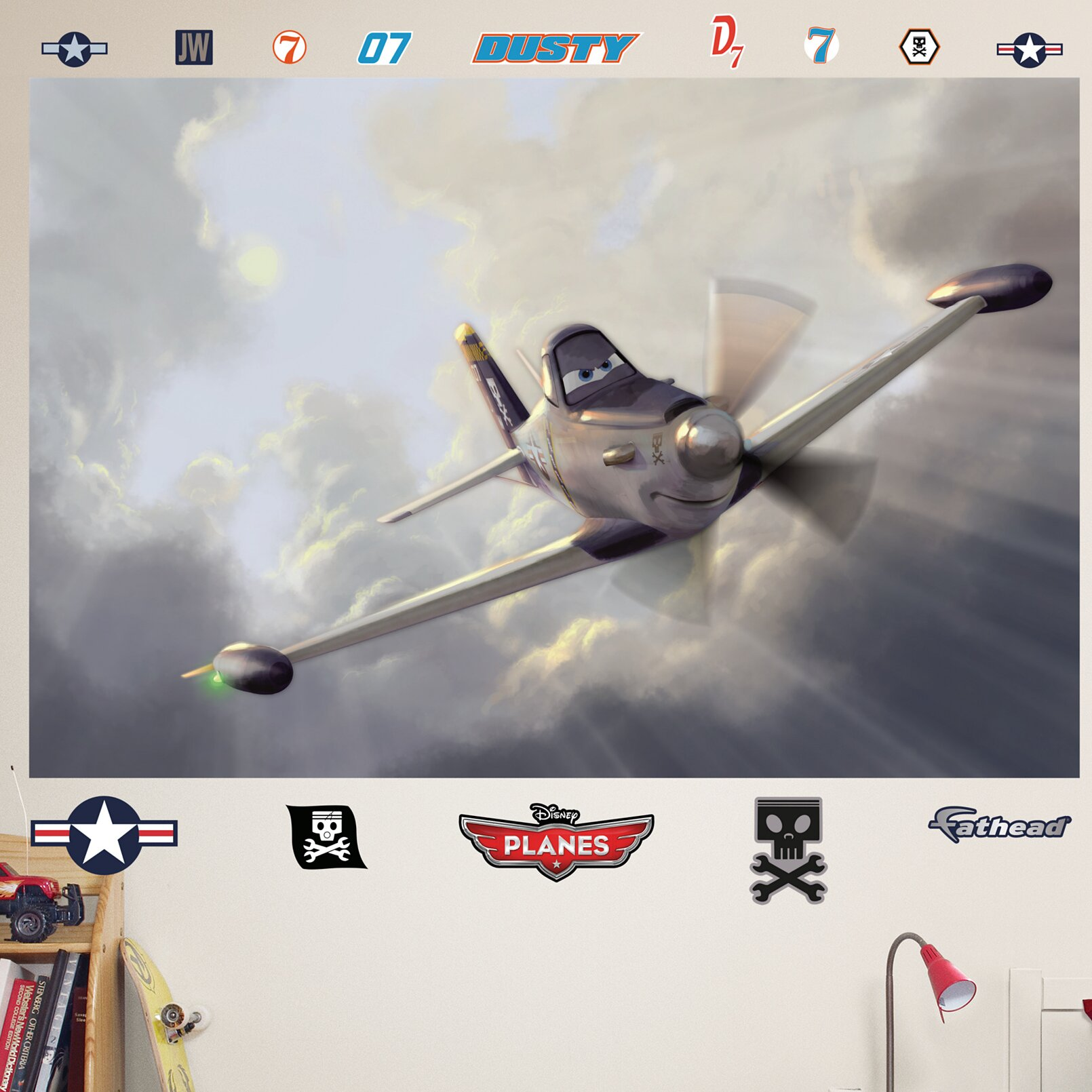 Fathead disney planes dusty wall mural wayfair for Disney planes wallpaper mural