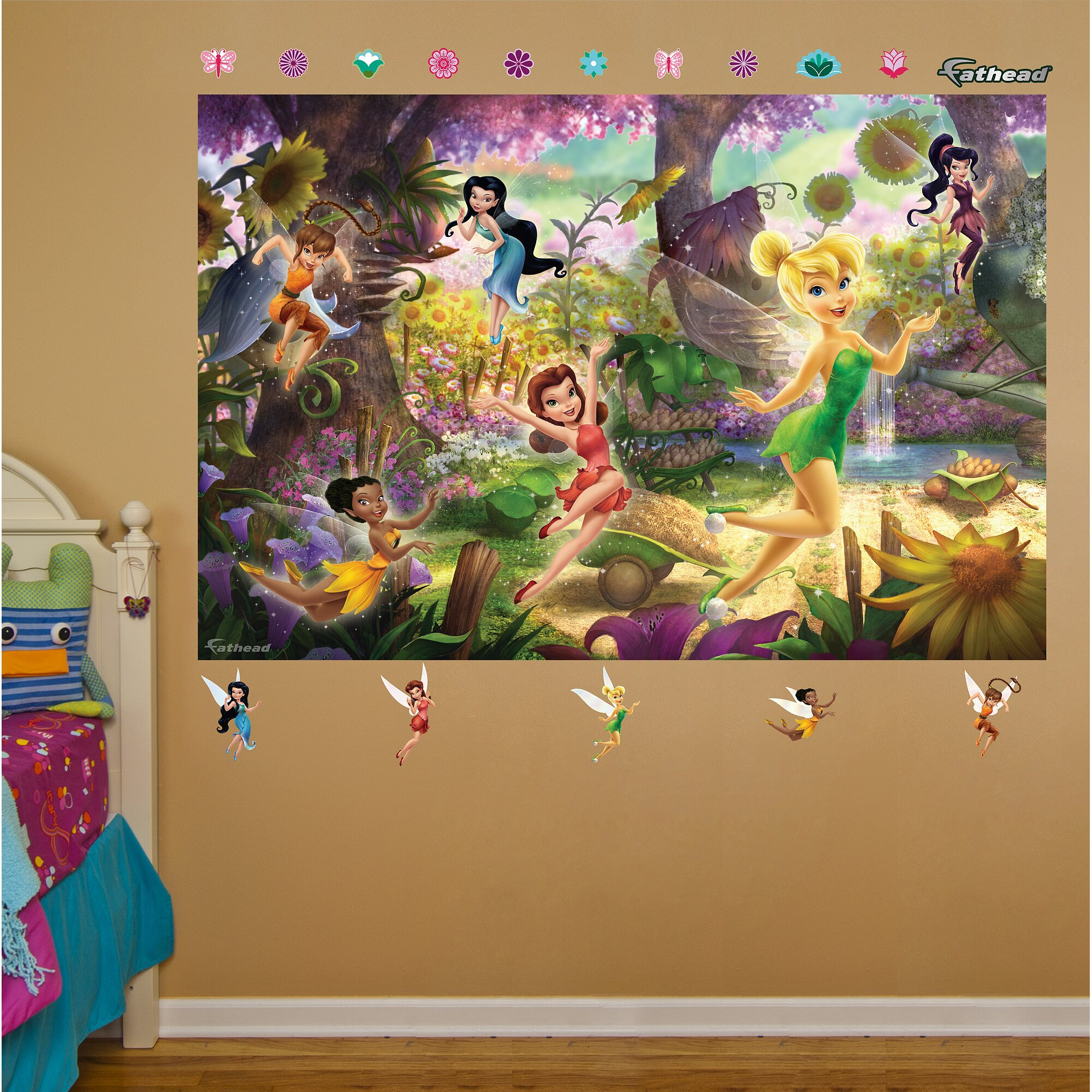 Fathead disney fairies wall mural wayfair for Fairies wall mural
