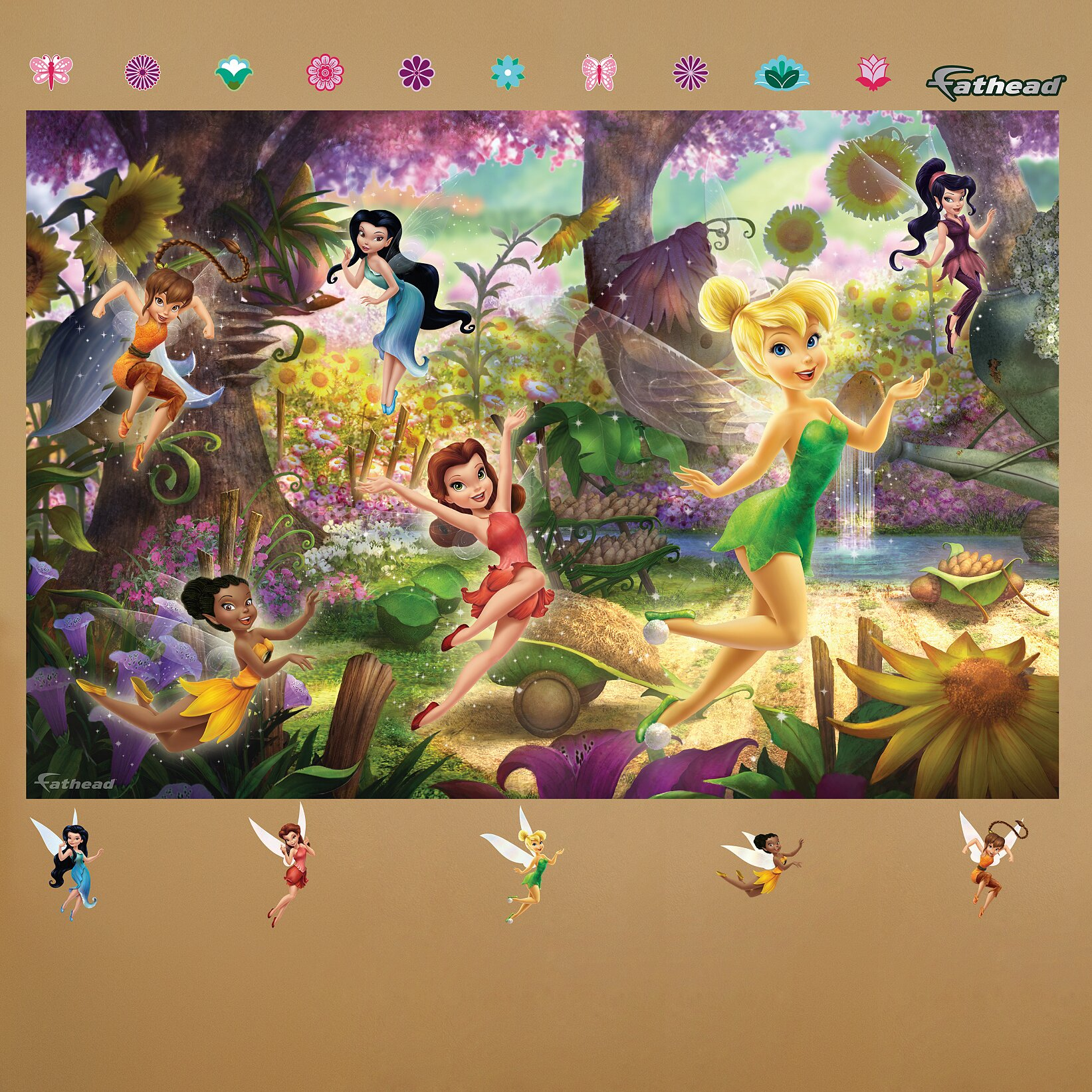 Fathead disney fairies wall mural wayfair for Disney wall mural