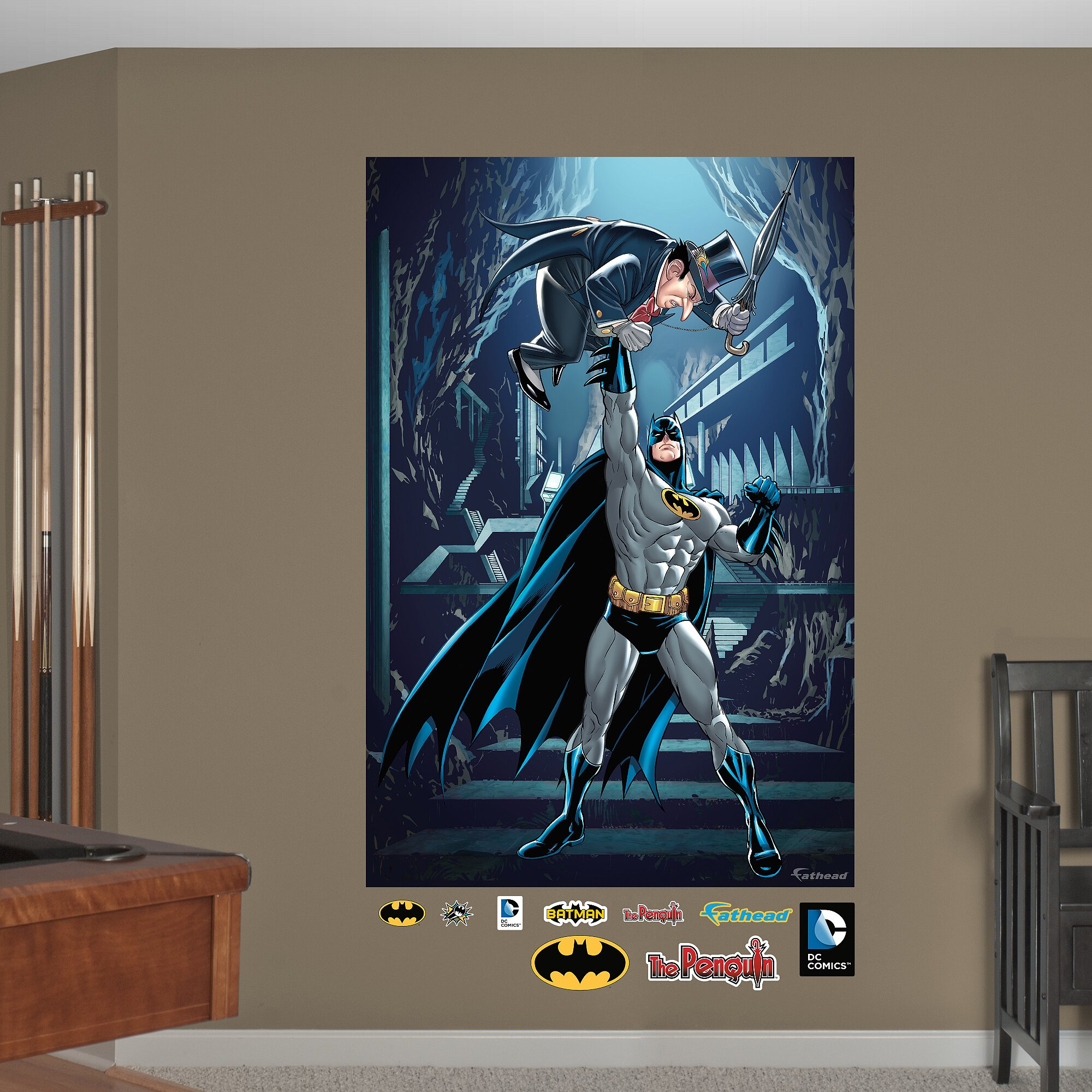 Fathead dc comics batman and penguin peel and stick wall for Batman wall mural
