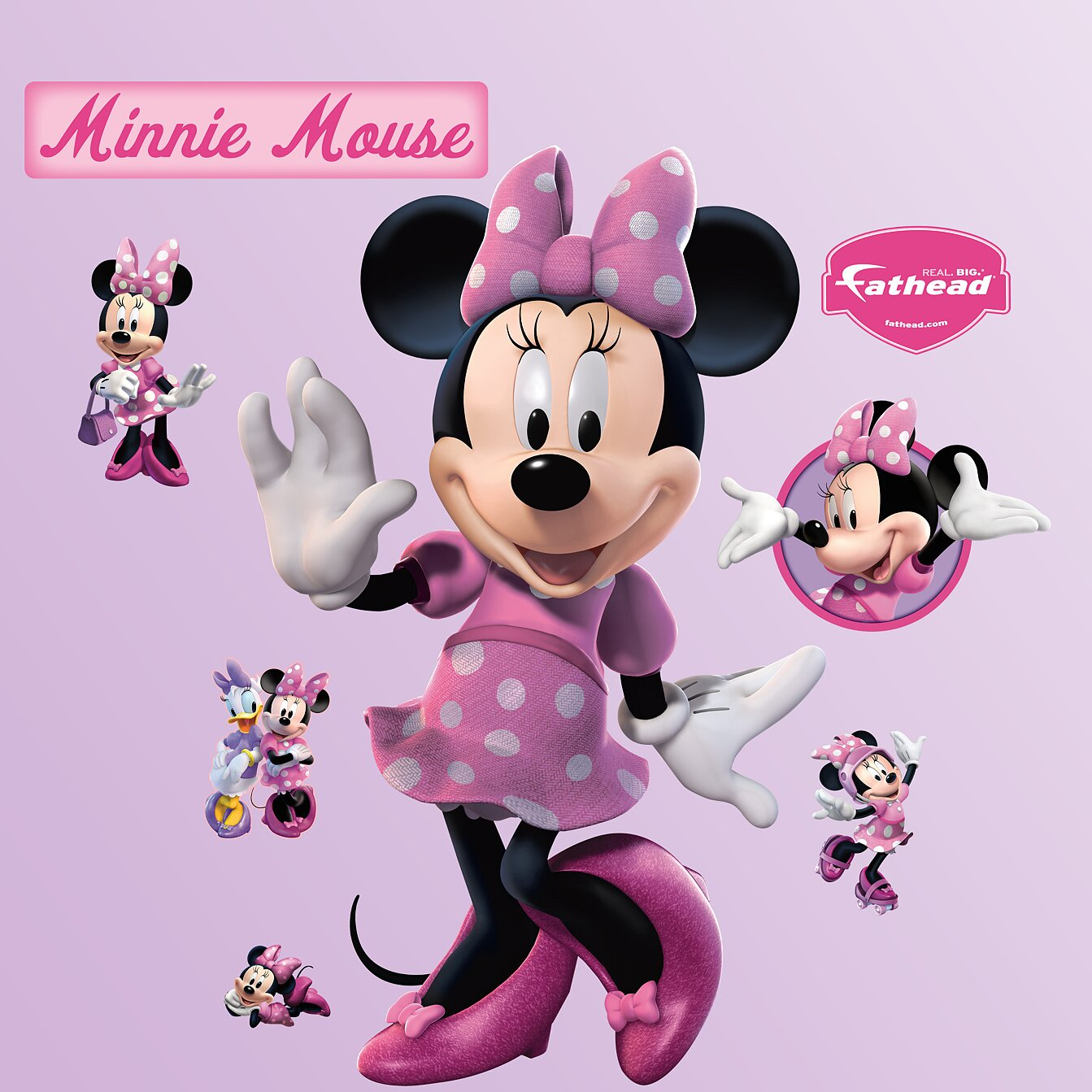 fathead disney minnie mouse wall decal reviews wayfair. Black Bedroom Furniture Sets. Home Design Ideas