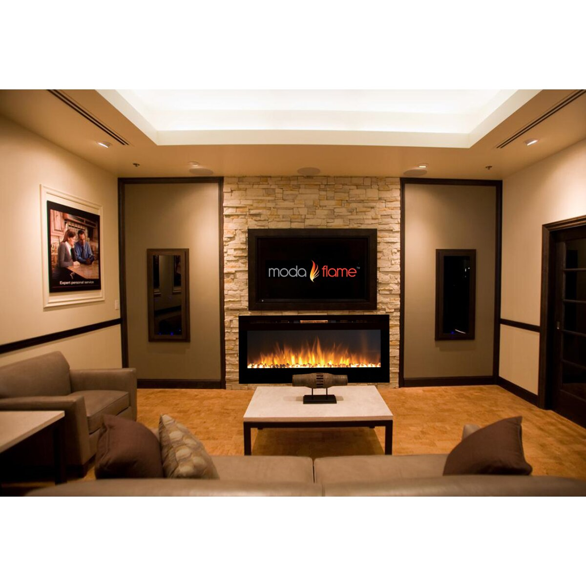 Moda Flame Pro Cynergy Pebble Stone Built In Wall Mount Electric Fireplace Reviews Wayfair